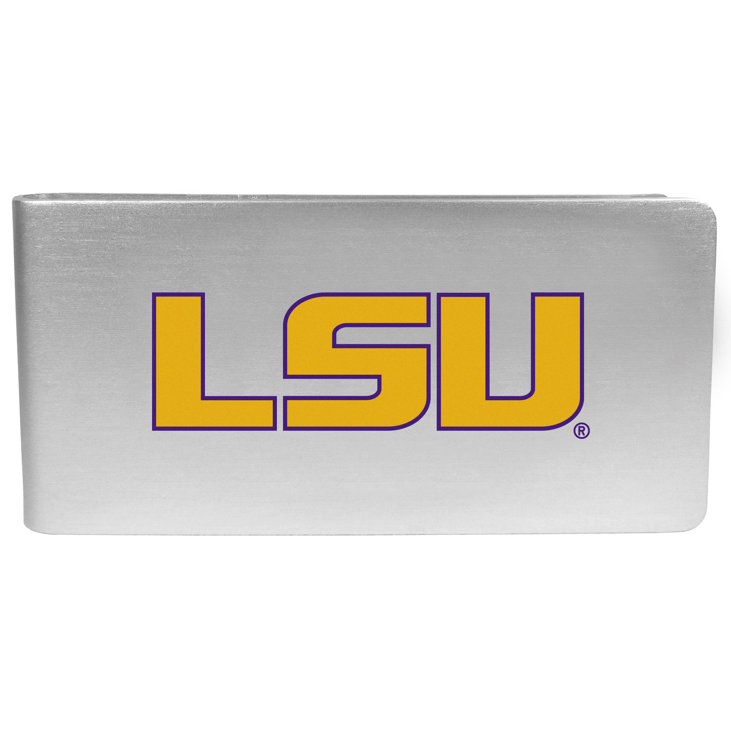LSU Tigers Logo Money Clip - Our brushed metal money clip has classic style and functionality. The attractive clip features the LSU Tigers logo expertly printed on front.