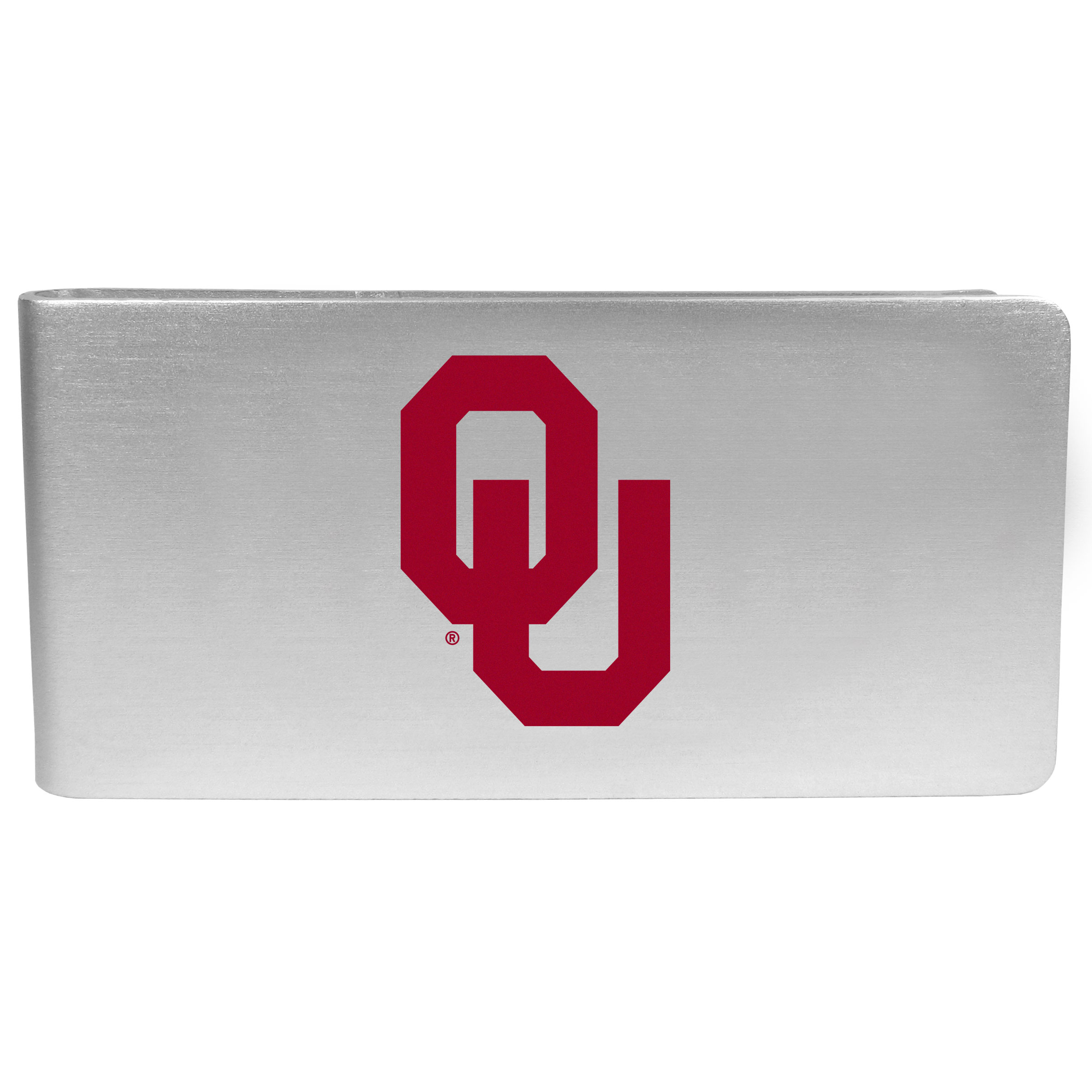 Oklahoma Sooners Logo Money Clip - Our brushed metal money clip has classic style and functionality. The attractive clip features the Oklahoma Sooners logo expertly printed on front.