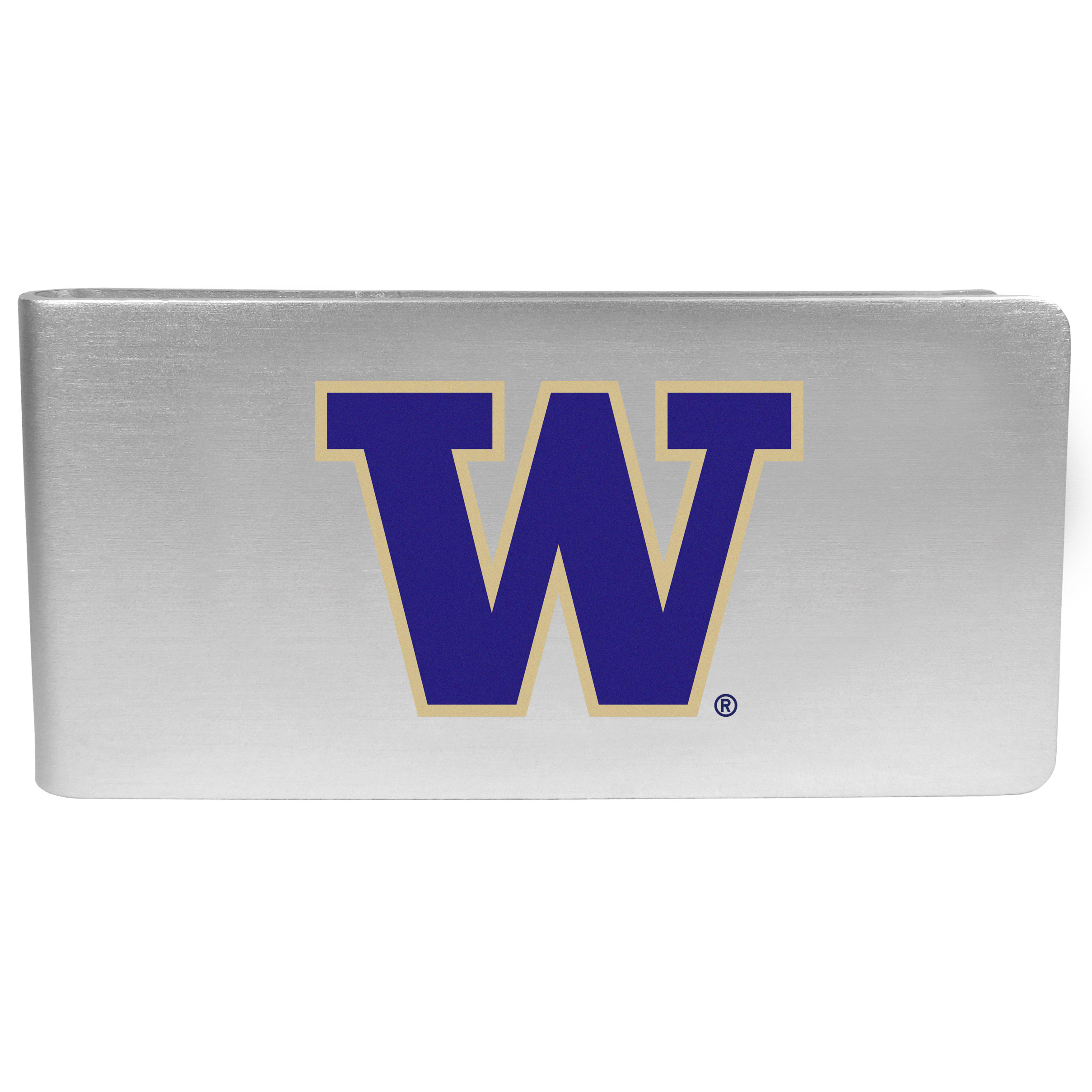 Washington Huskies Logo Money Clip - Our brushed metal money clip has classic style and functionality. The attractive clip features the Washington Huskies logo expertly printed on front.