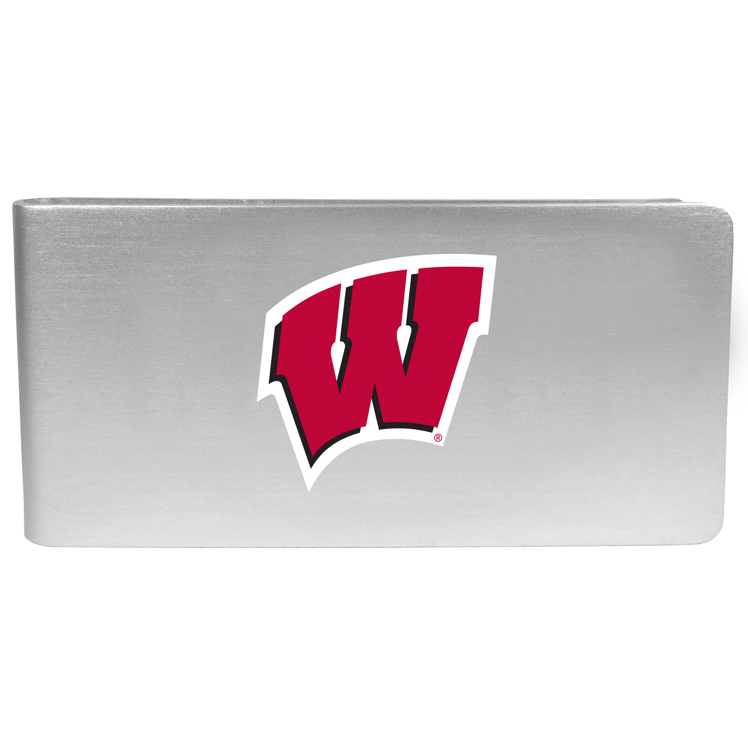 Wisconsin Badgers Logo Money Clip - Our brushed metal money clip has classic style and functionality. The attractive clip features the Wisconsin Badgers logo expertly printed on front.