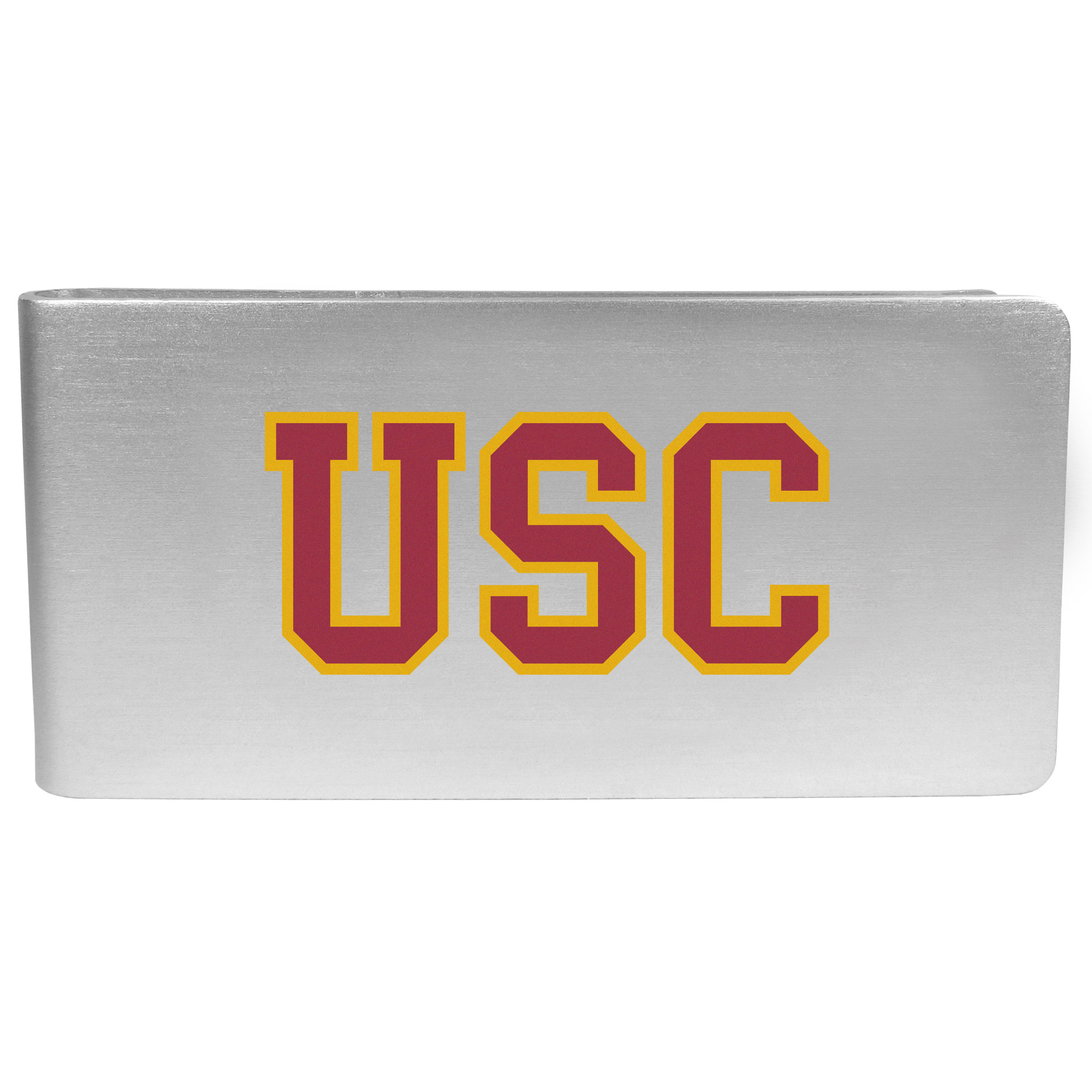 USC Trojans Logo Money Clip - Our brushed metal money clip has classic style and functionality. The attractive clip features the USC Trojans logo expertly printed on front.