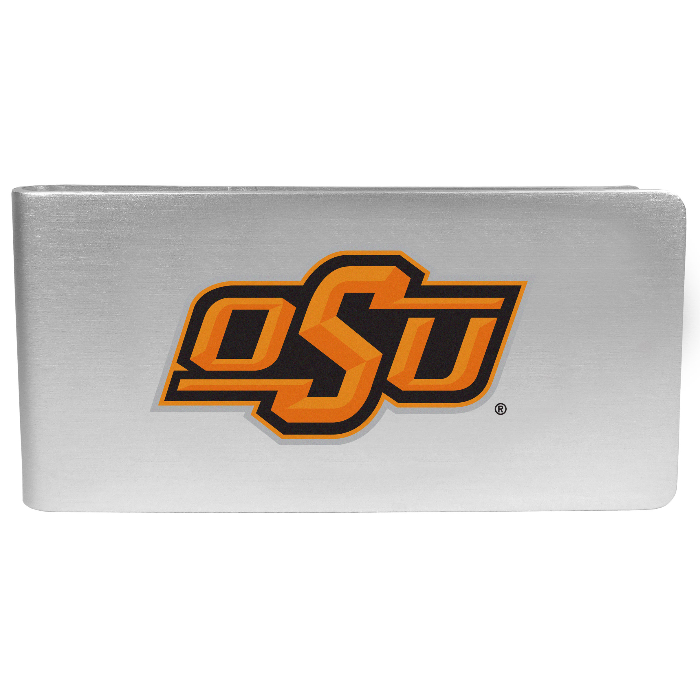 Oklahoma St. Cowboys Logo Money Clip - Our brushed metal money clip has classic style and functionality. The attractive clip features the Oklahoma St. Cowboys logo expertly printed on front.