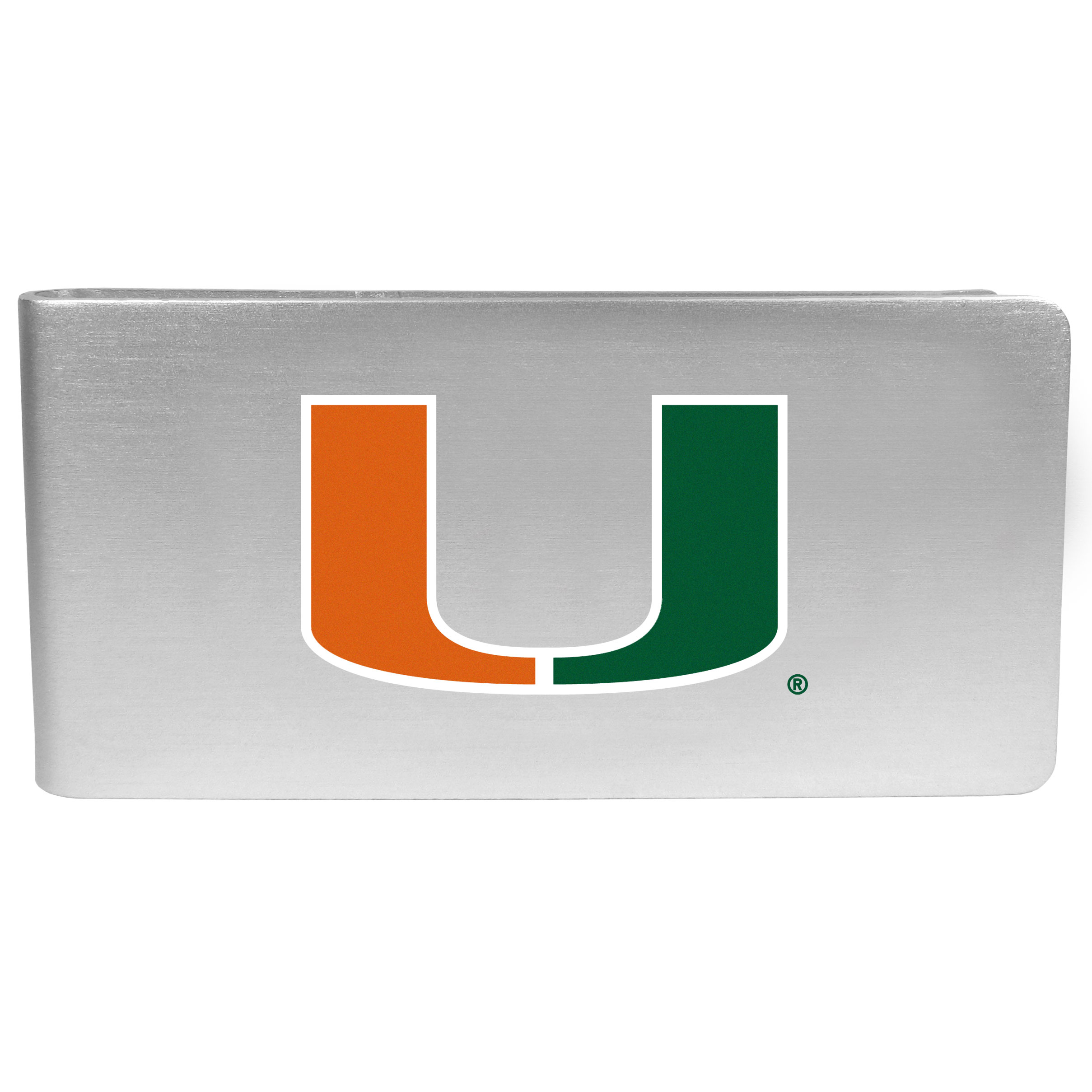 Miami Hurricanes Logo Money Clip - Our brushed metal money clip has classic style and functionality. The attractive clip features the Miami Hurricanes logo expertly printed on front.