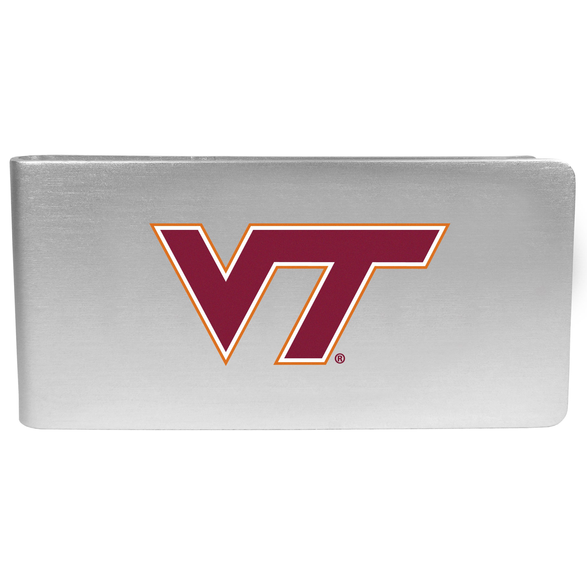 Virginia Tech Hokies Logo Money Clip - Our brushed metal money clip has classic style and functionality. The attractive clip features the Virginia Tech Hokies logo expertly printed on front.