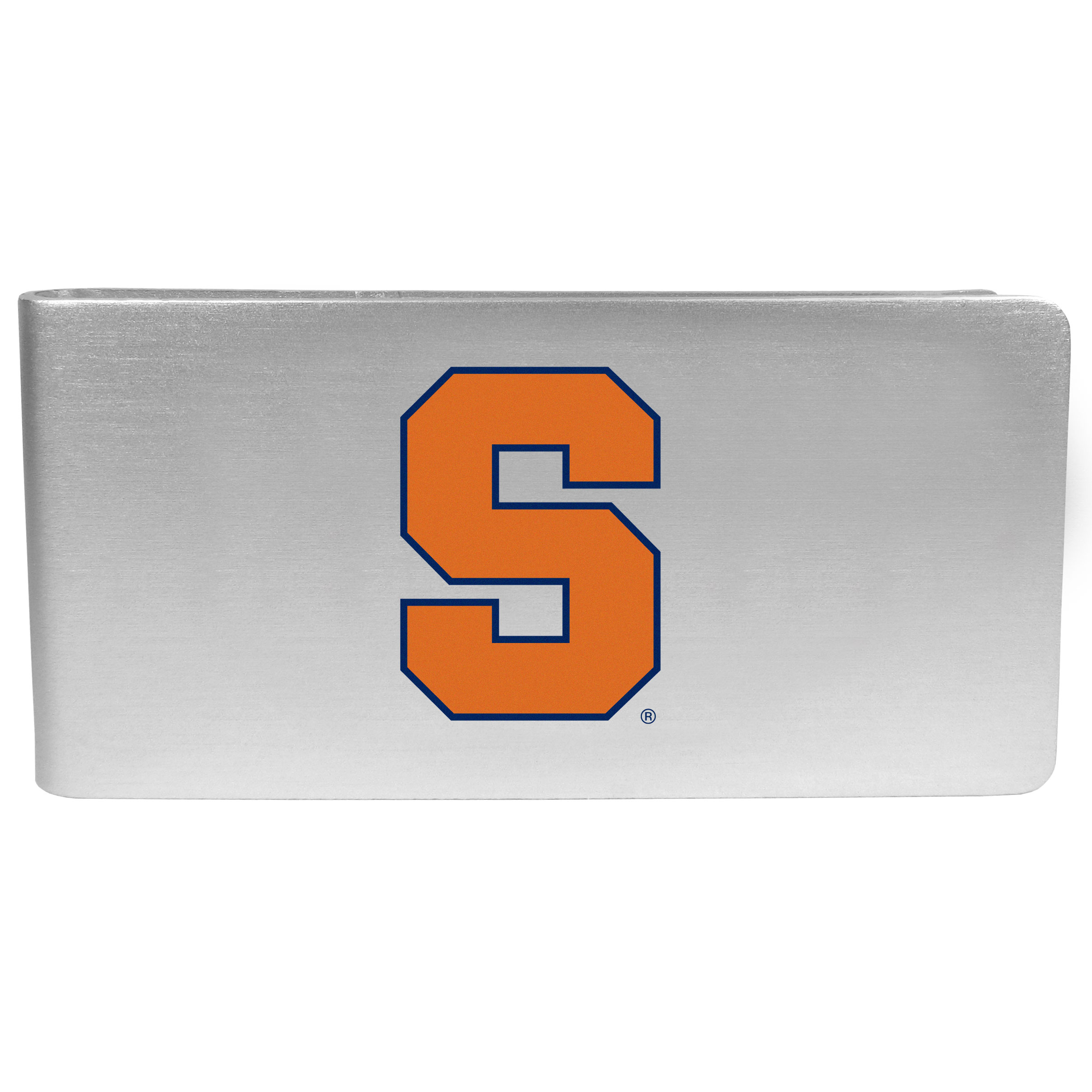 Syracuse Orange Logo Money Clip - Our brushed metal money clip has classic style and functionality. The attractive clip features the Syracuse Orange logo expertly printed on front.