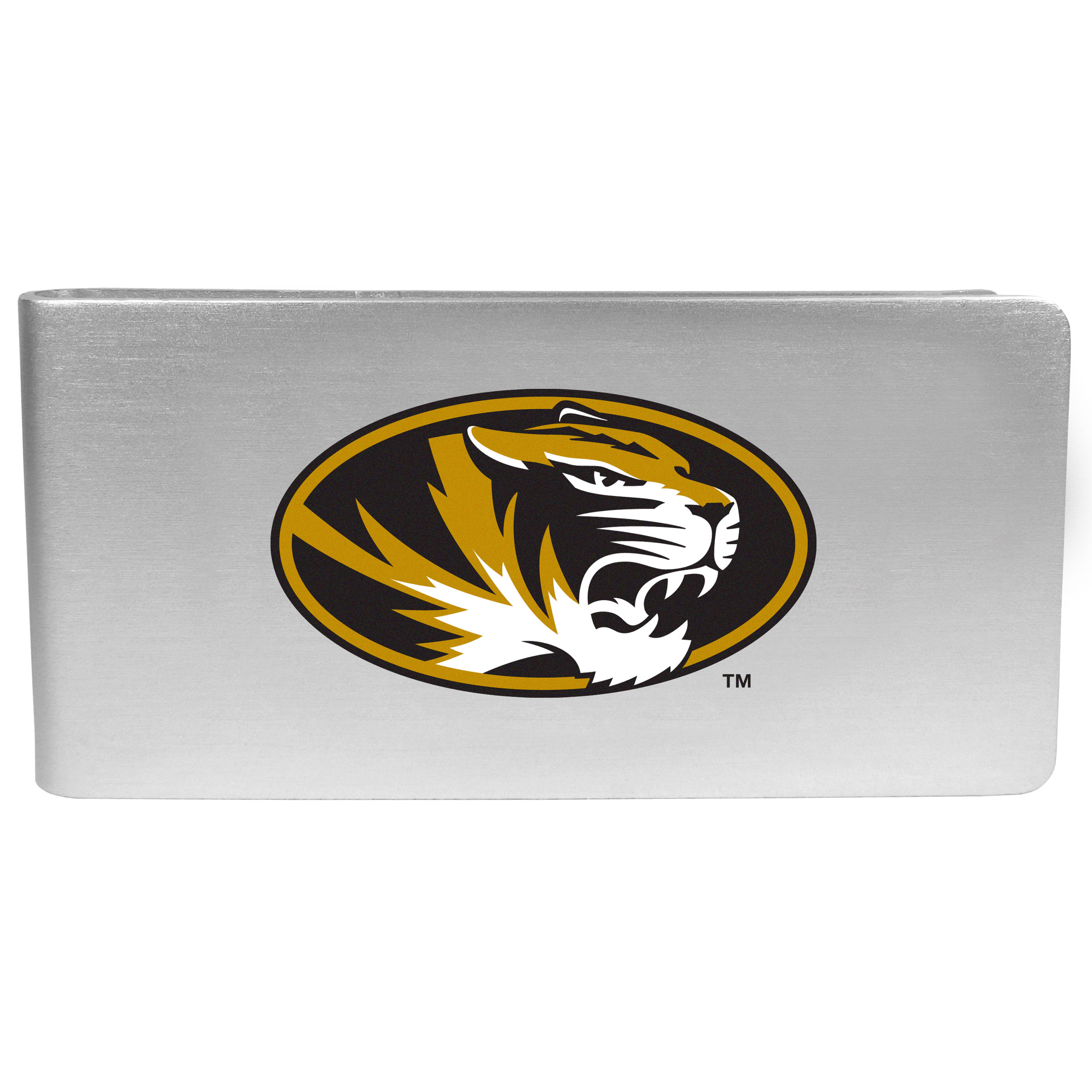 Missouri Tigers Logo Money Clip - Our brushed metal money clip has classic style and functionality. The attractive clip features the Missouri Tigers logo expertly printed on front.