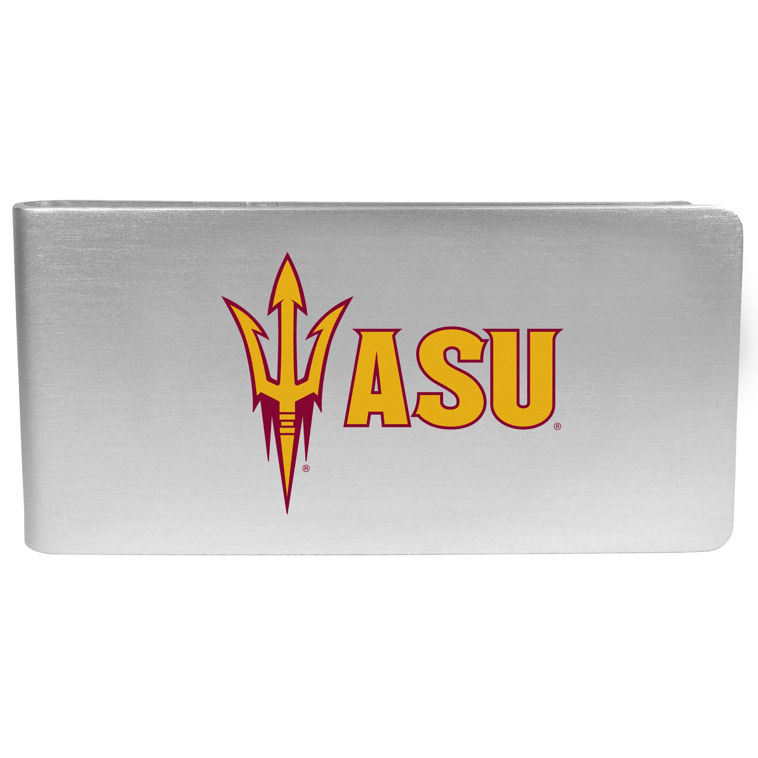 Arizona St. Sun Devils Logo Money Clip - Our brushed metal money clip has classic style and functionality. The attractive clip features the Arizona St. Sun Devils logo expertly printed on front.