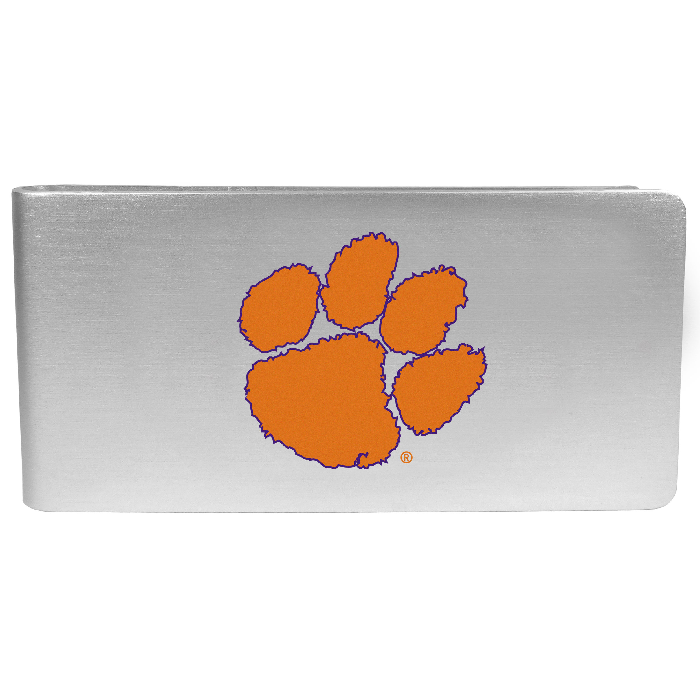 Clemson Tigers Logo Money Clip - Our brushed metal money clip has classic style and functionality. The attractive clip features the Clemson Tigers logo expertly printed on front.