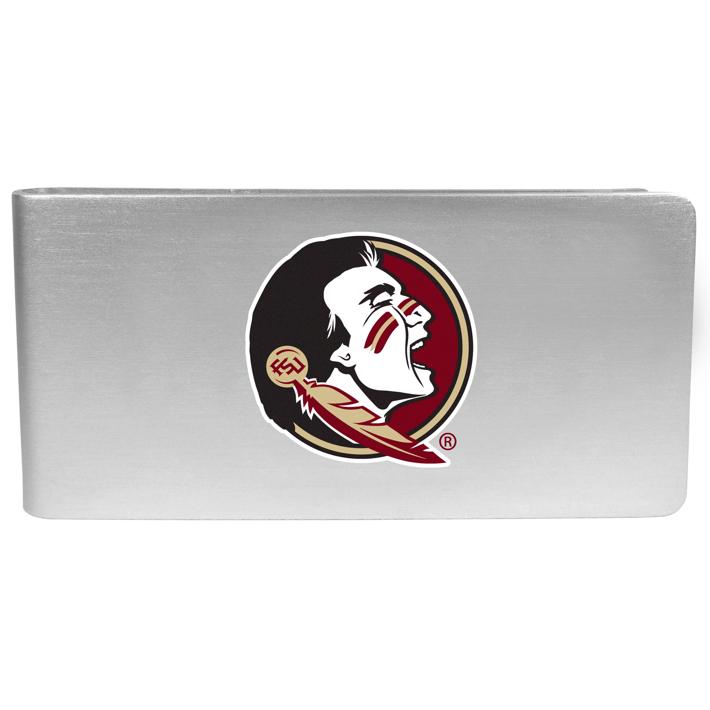 Florida St. Seminoles Logo Money Clip - Our brushed metal money clip has classic style and functionality. The attractive clip features the Florida St. Seminoles logo expertly printed on front.