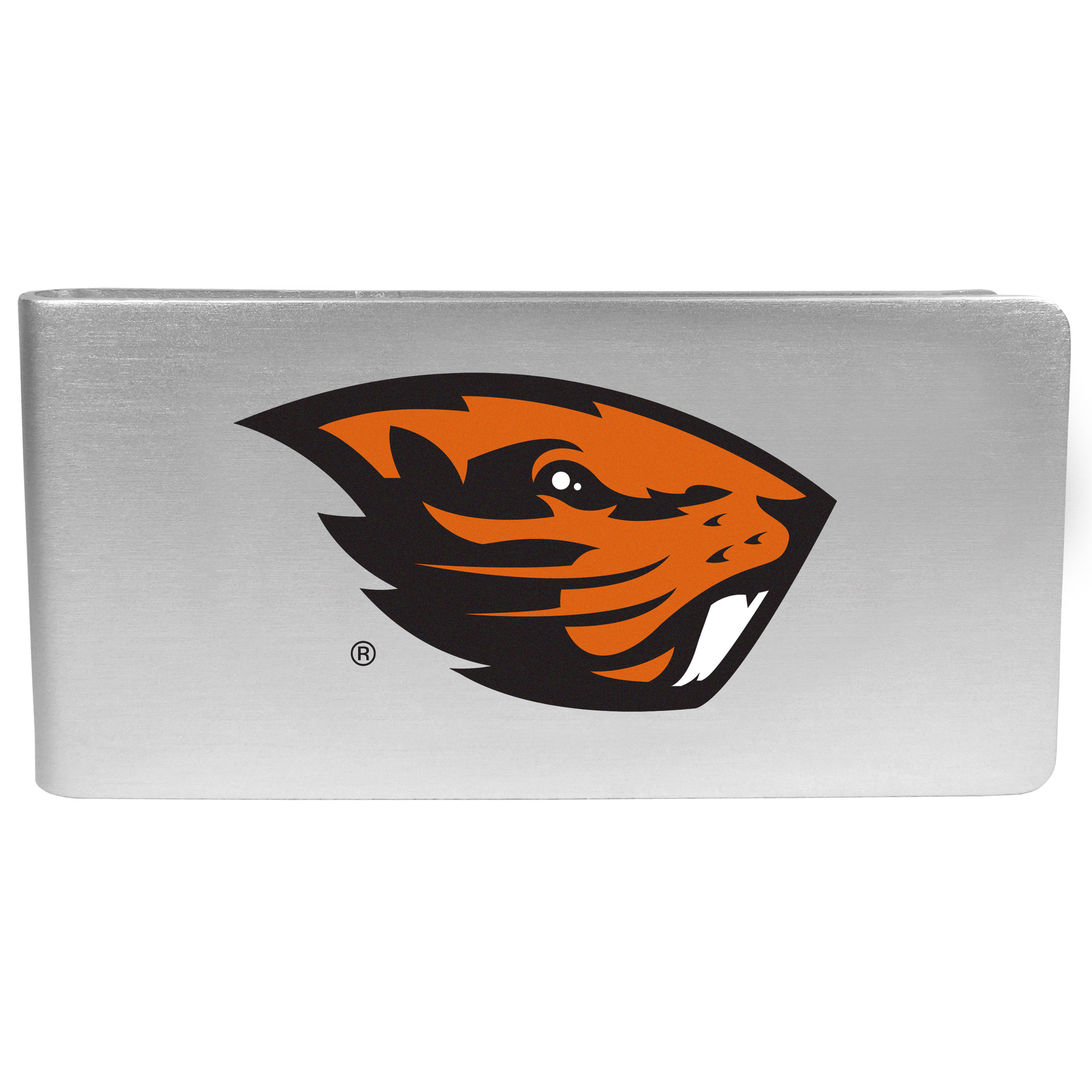 Oregon St. Beavers Logo Money Clip - Our brushed metal money clip has classic style and functionality. The attractive clip features the Oregon St. Beavers logo expertly printed on front.