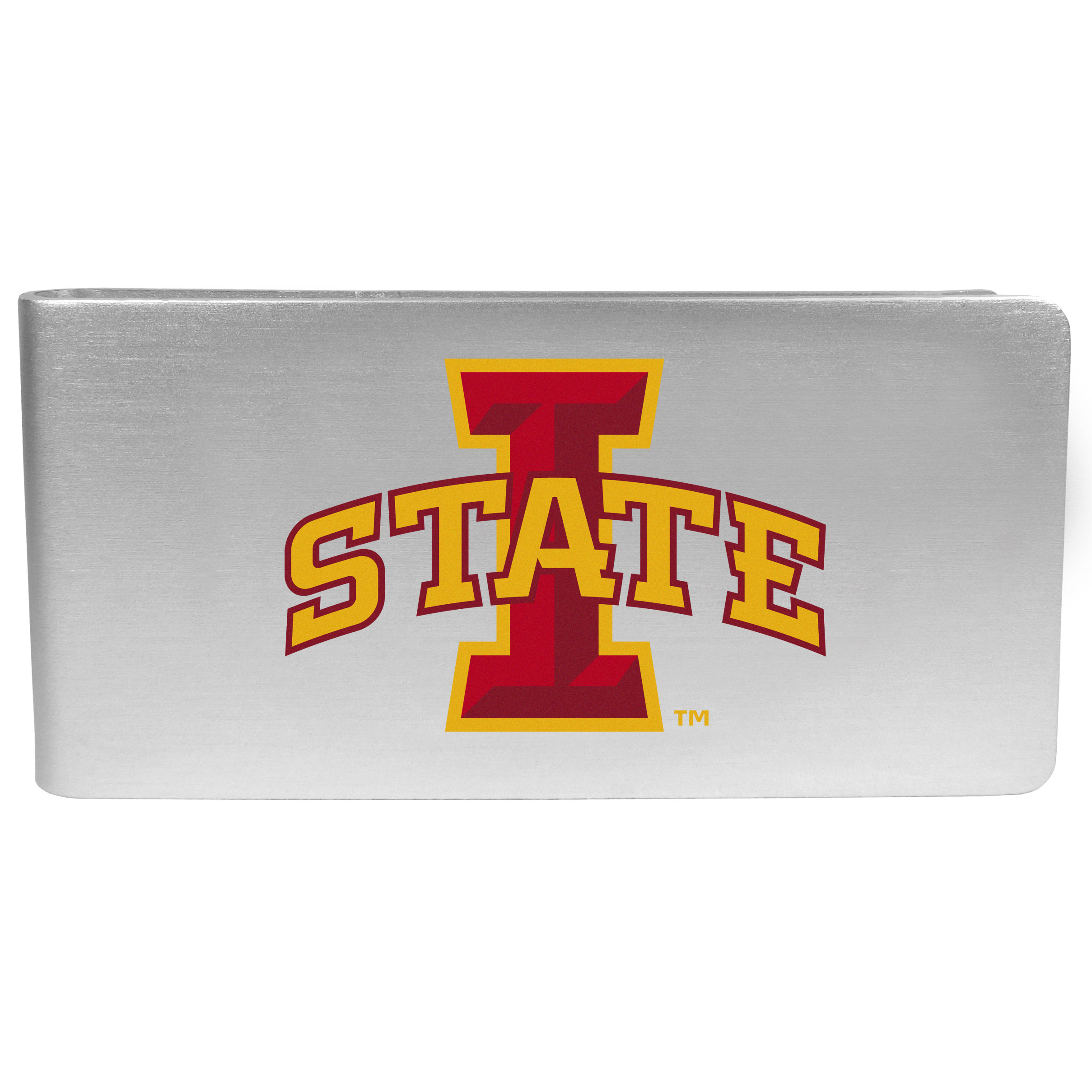Iowa St. Cyclones Logo Money Clip - Our brushed metal money clip has classic style and functionality. The attractive clip features the Iowa St. Cyclones logo expertly printed on front.