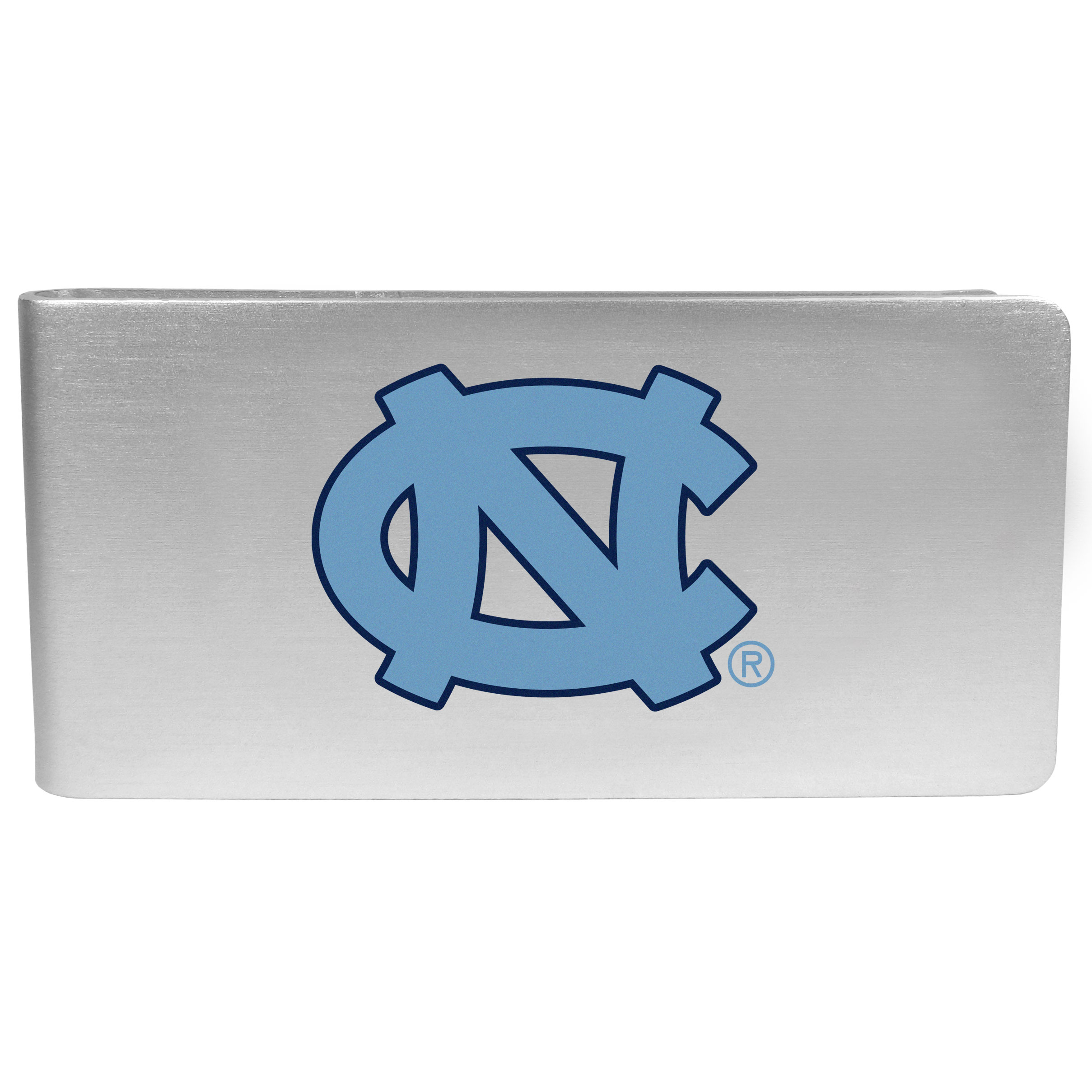 N. Carolina Tar Heels Logo Money Clip - Our brushed metal money clip has classic style and functionality. The attractive clip features the N. Carolina Tar Heels logo expertly printed on front.