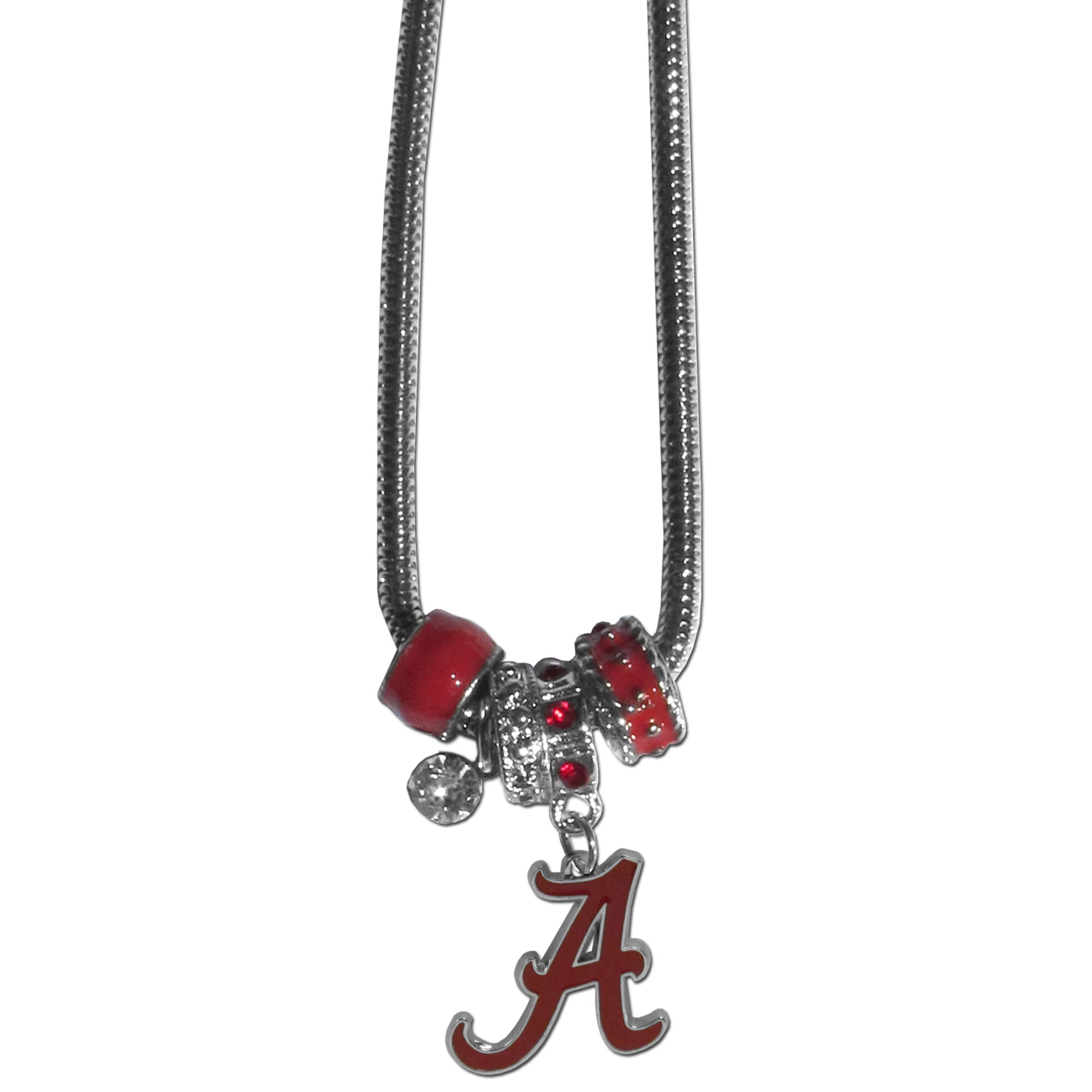 Alabama Crimson Tide Euro Bead Necklace - We have combined the wildly popular Euro style beads with your favorite team to create our Alabama Crimson Tide bead necklace. The 18 inch snake chain features 4 Euro beads with enameled team colors and rhinestone accents with a high polish, nickel free charm and rhinestone charm. Perfect way to show off your team pride.