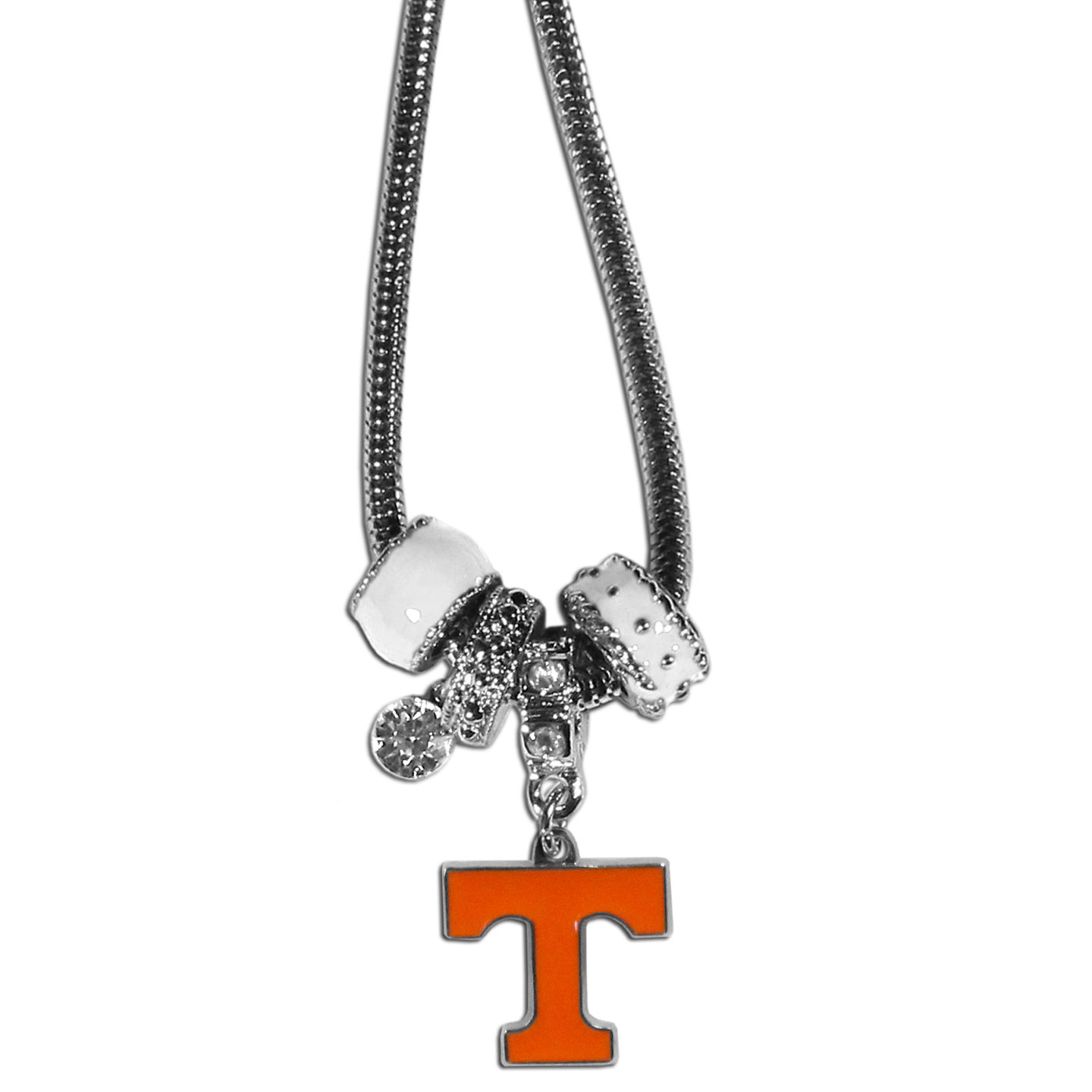 Tennessee Volunteers Euro Bead Necklace - We have combined the wildly popular Euro style beads with your favorite team to create our Tennessee Volunteers bead necklace. The 18 inch snake chain features 4 Euro beads with enameled team colors and rhinestone accents with a high polish, nickel free charm and rhinestone charm. Perfect way to show off your team pride.