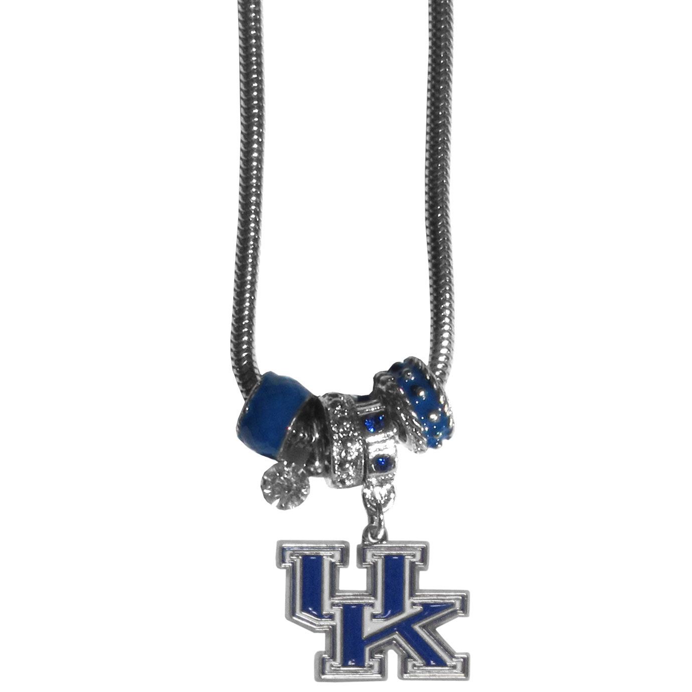 Kentucky Wildcats Euro Bead Necklace - We have combined the wildly popular Euro style beads with your favorite team to create our Kentucky Wildcats bead necklace. The 18 inch snake chain features 4 Euro beads with enameled team colors and rhinestone accents with a high polish, nickel free charm and rhinestone charm. Perfect way to show off your team pride.