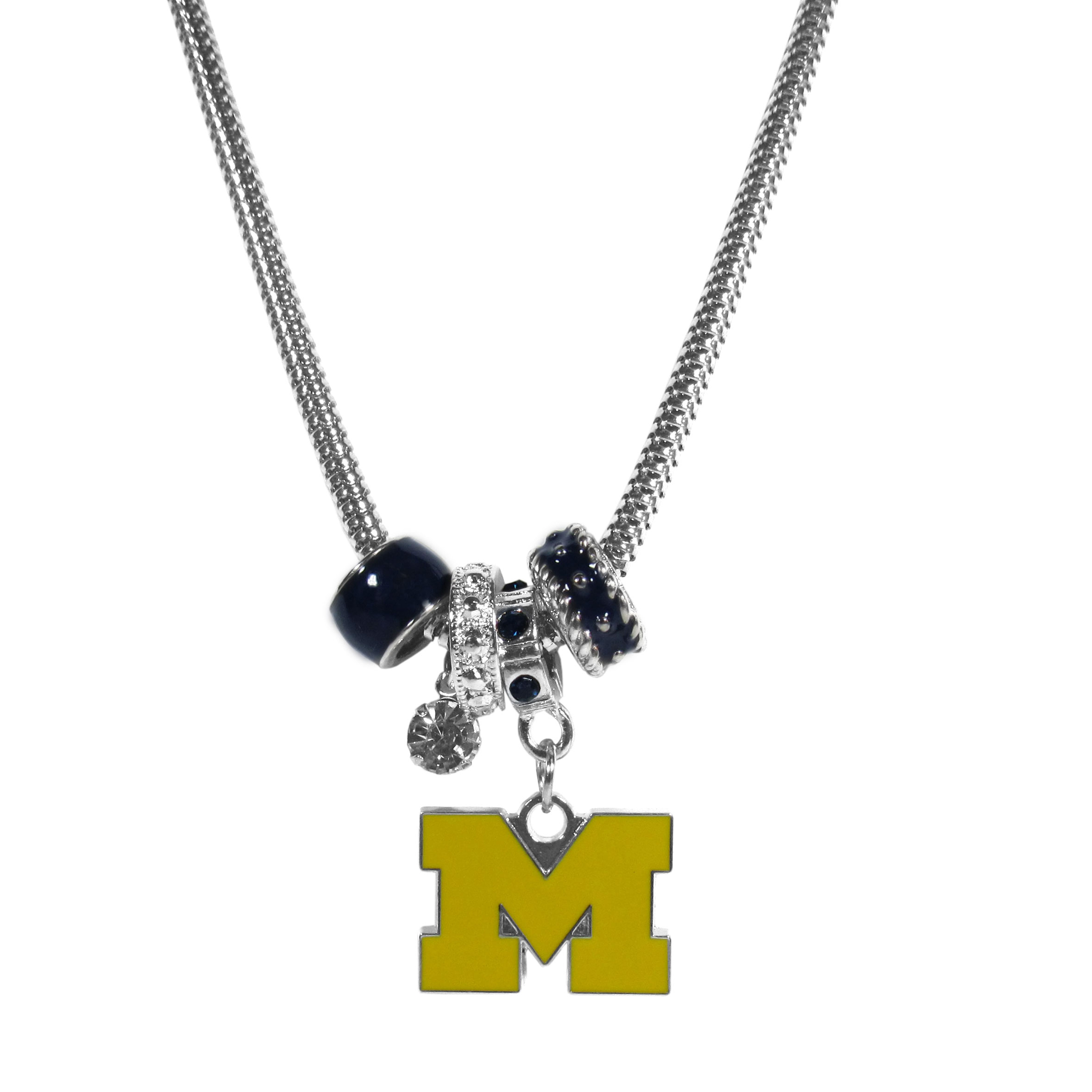 Michigan Wolverines Euro Bead Necklace - We have combined the wildly popular Euro style beads with your favorite team to create our Michigan Wolverines bead necklace. The 18 inch snake chain features 4 Euro beads with enameled team colors and rhinestone accents with a high polish, nickel free charm and rhinestone charm. Perfect way to show off your team pride.