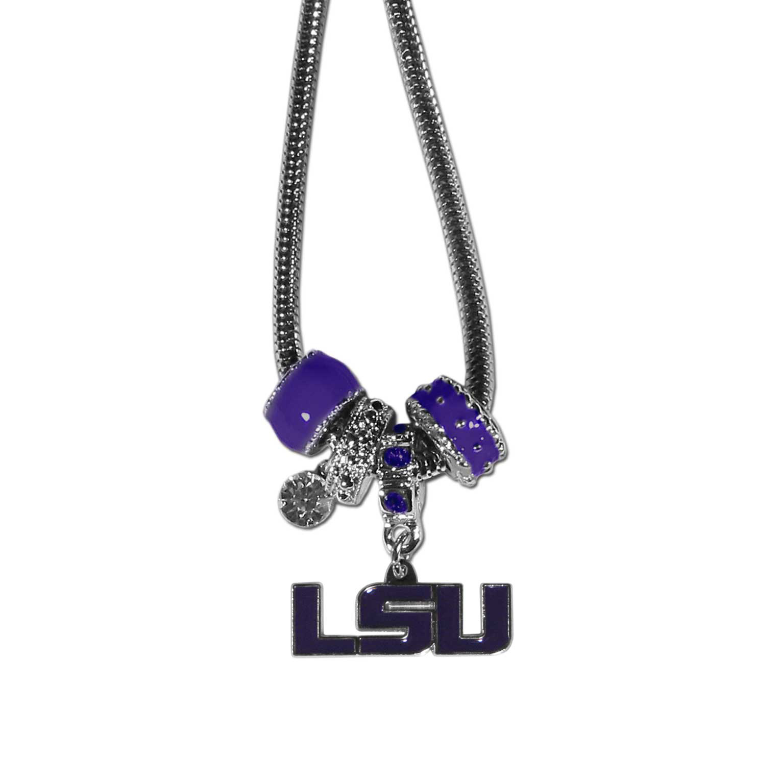 LSU Tigers Euro Bead Necklace - We have combined the wildly popular Euro style beads with your favorite team to create our LSU Tigers bead necklace. The 18 inch snake chain features 4 Euro beads with enameled team colors and rhinestone accents with a high polish, nickel free charm and rhinestone charm. Perfect way to show off your team pride.