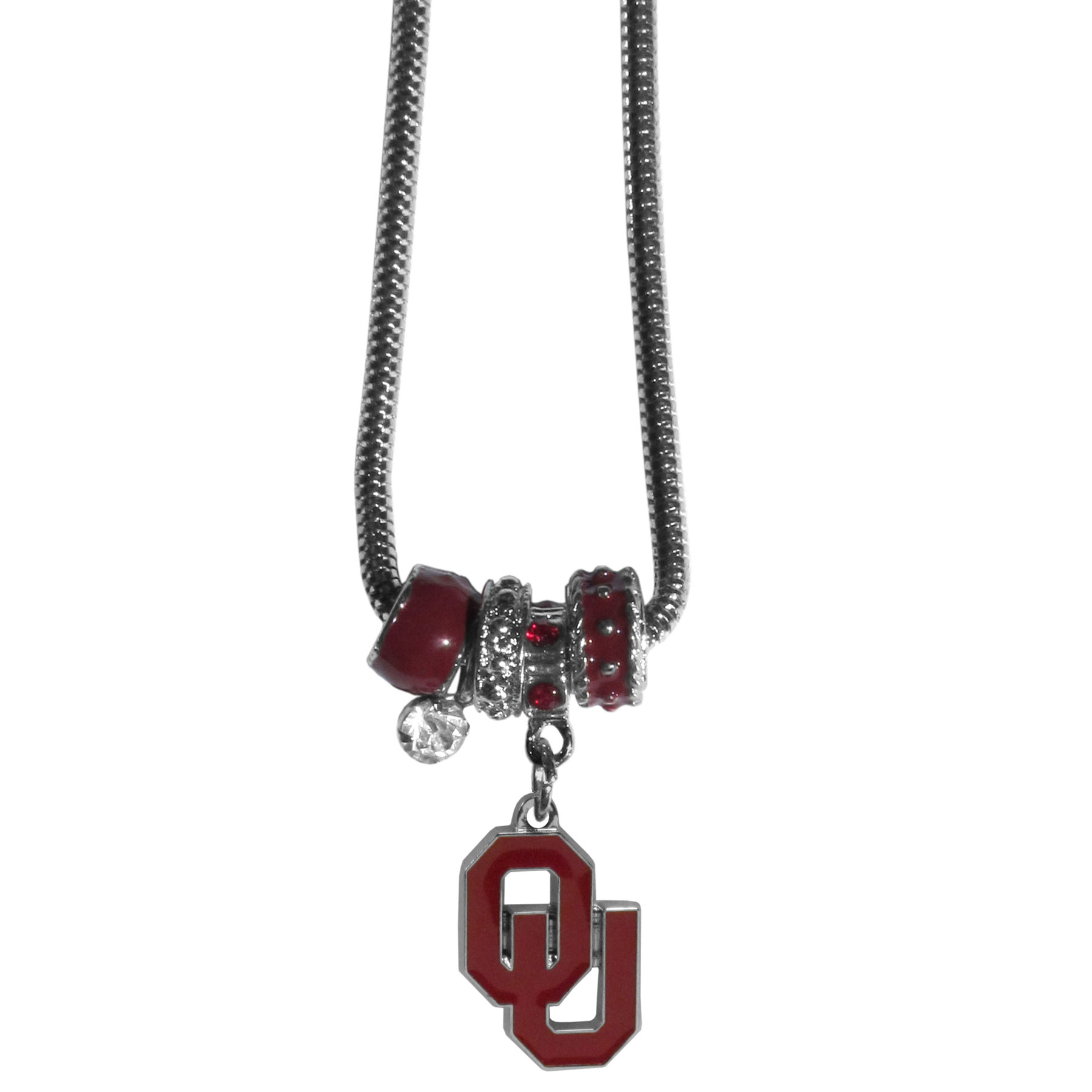 Oklahoma Sooners Euro Bead Necklace - We have combined the wildly popular Euro style beads with your favorite team to create our Oklahoma Sooners bead necklace. The 18 inch snake chain features 4 Euro beads with enameled team colors and rhinestone accents with a high polish, nickel free charm and rhinestone charm. Perfect way to show off your team pride.