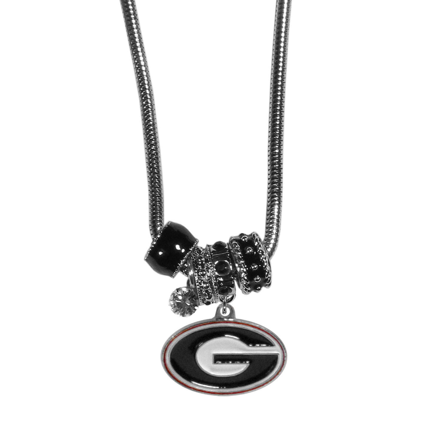 Georgia Bulldogs Euro Bead Necklace - We have combined the wildly popular Euro style beads with your favorite team to create our Georgia Bulldogs bead necklace. The 18 inch snake chain features 4 Euro beads with enameled team colors and rhinestone accents with a high polish, nickel free charm and rhinestone charm. Perfect way to show off your team pride.
