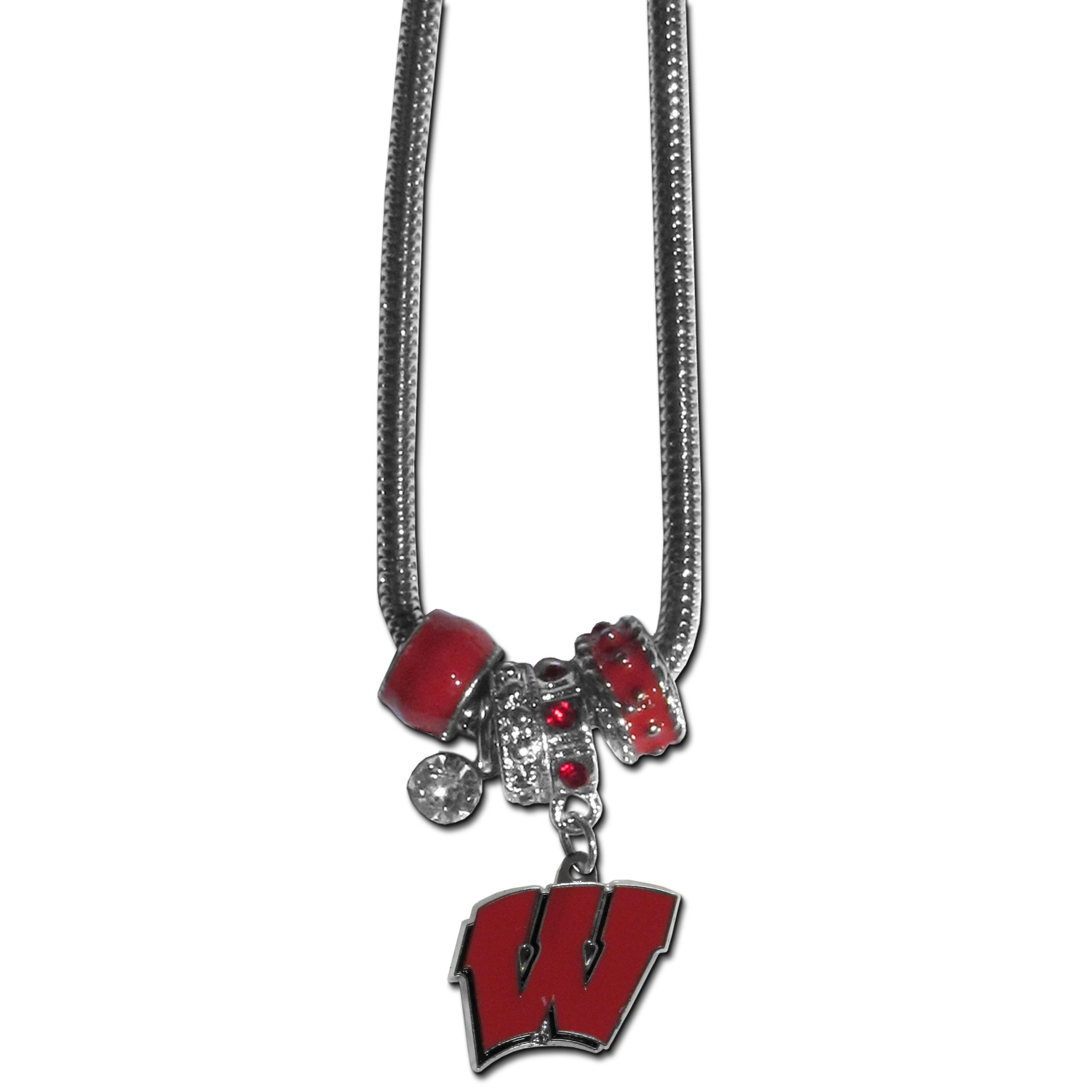 Wisconsin Badgers Euro Bead Necklace - We have combined the wildly popular Euro style beads with your favorite team to create our Wisconsin Badgers bead necklace. The 18 inch snake chain features 4 Euro beads with enameled team colors and rhinestone accents with a high polish, nickel free charm and rhinestone charm. Perfect way to show off your team pride.