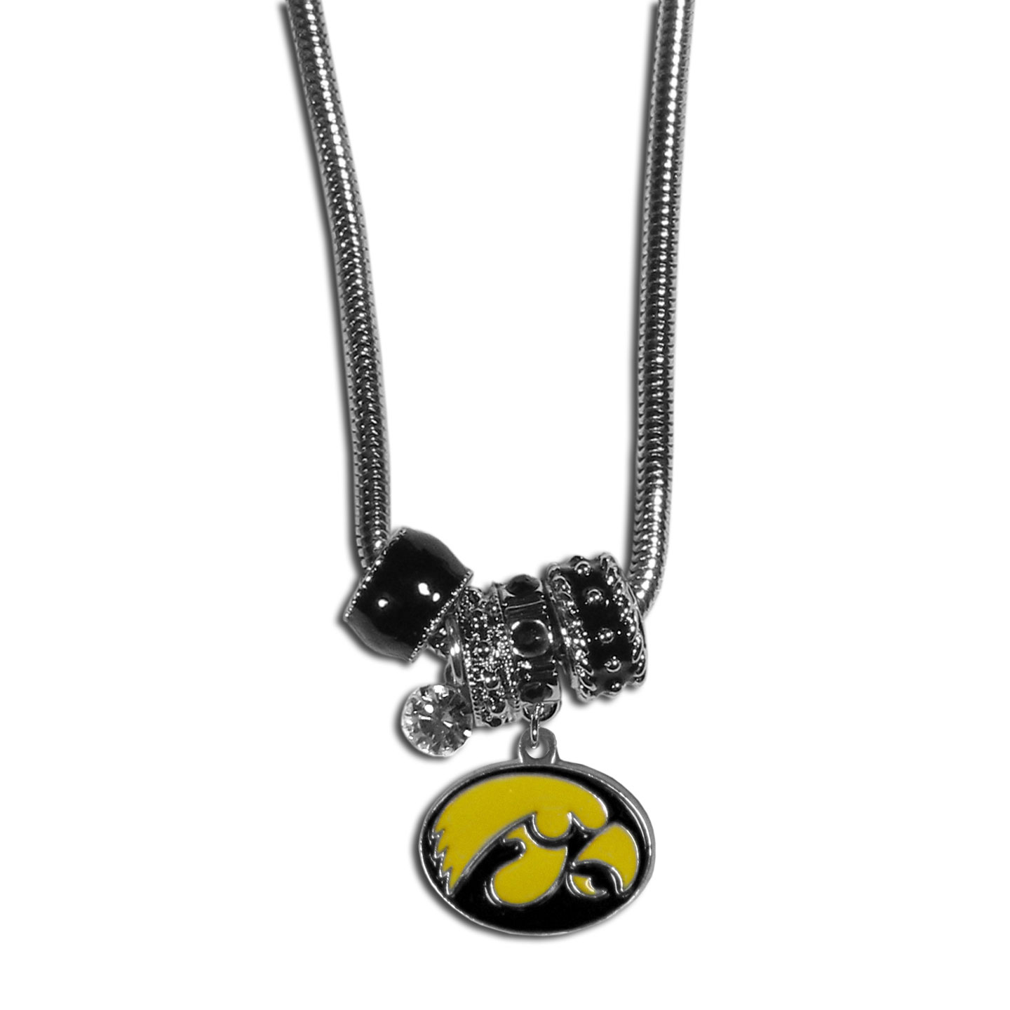 Iowa Hawkeyes Euro Bead Necklace - We have combined the wildly popular Euro style beads with your favorite team to create our Iowa Hawkeyes bead necklace. The 18 inch snake chain features 4 Euro beads with enameled team colors and rhinestone accents with a high polish, nickel free charm and rhinestone charm. Perfect way to show off your team pride.