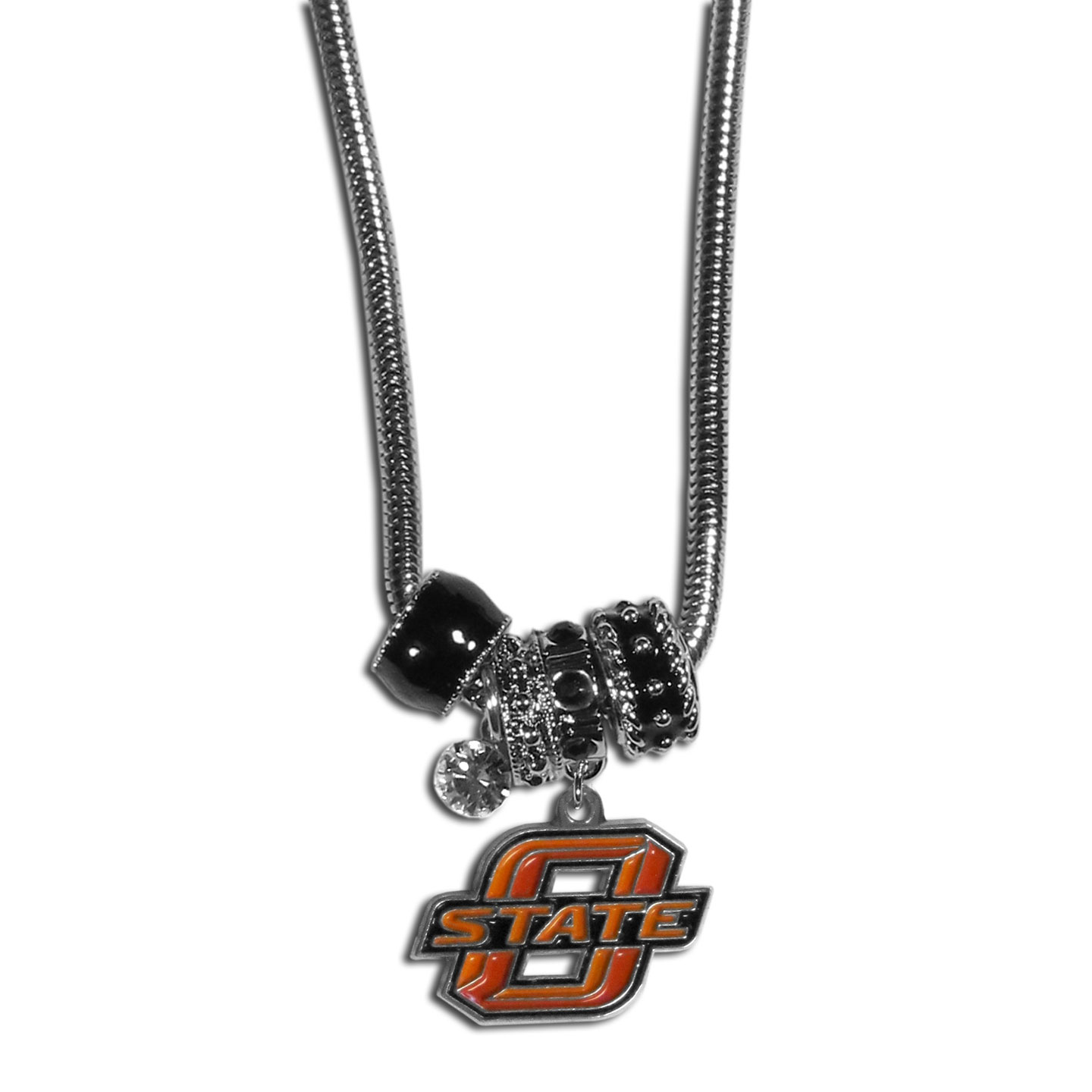 Oklahoma State Cowboys Euro Bead Necklace - We have combined the wildly popular Euro style beads with your favorite team to create our Oklahoma State Cowboys bead necklace. The 18 inch snake chain features 4 Euro beads with enameled team colors and rhinestone accents with a high polish, nickel free charm and rhinestone charm. Perfect way to show off your team pride.