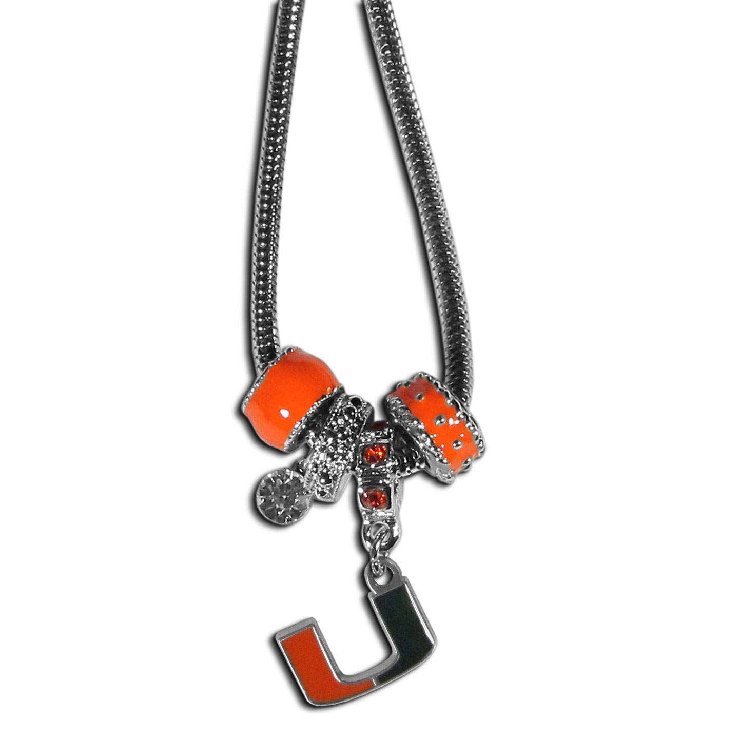 Miami Hurricanes Euro Bead Necklace - We have combined the wildly popular Euro style beads with your favorite team to create our Miami Hurricanes bead necklace. The 18 inch snake chain features 4 Euro beads with enameled team colors and rhinestone accents with a high polish, nickel free charm and rhinestone charm. Perfect way to show off your team pride.