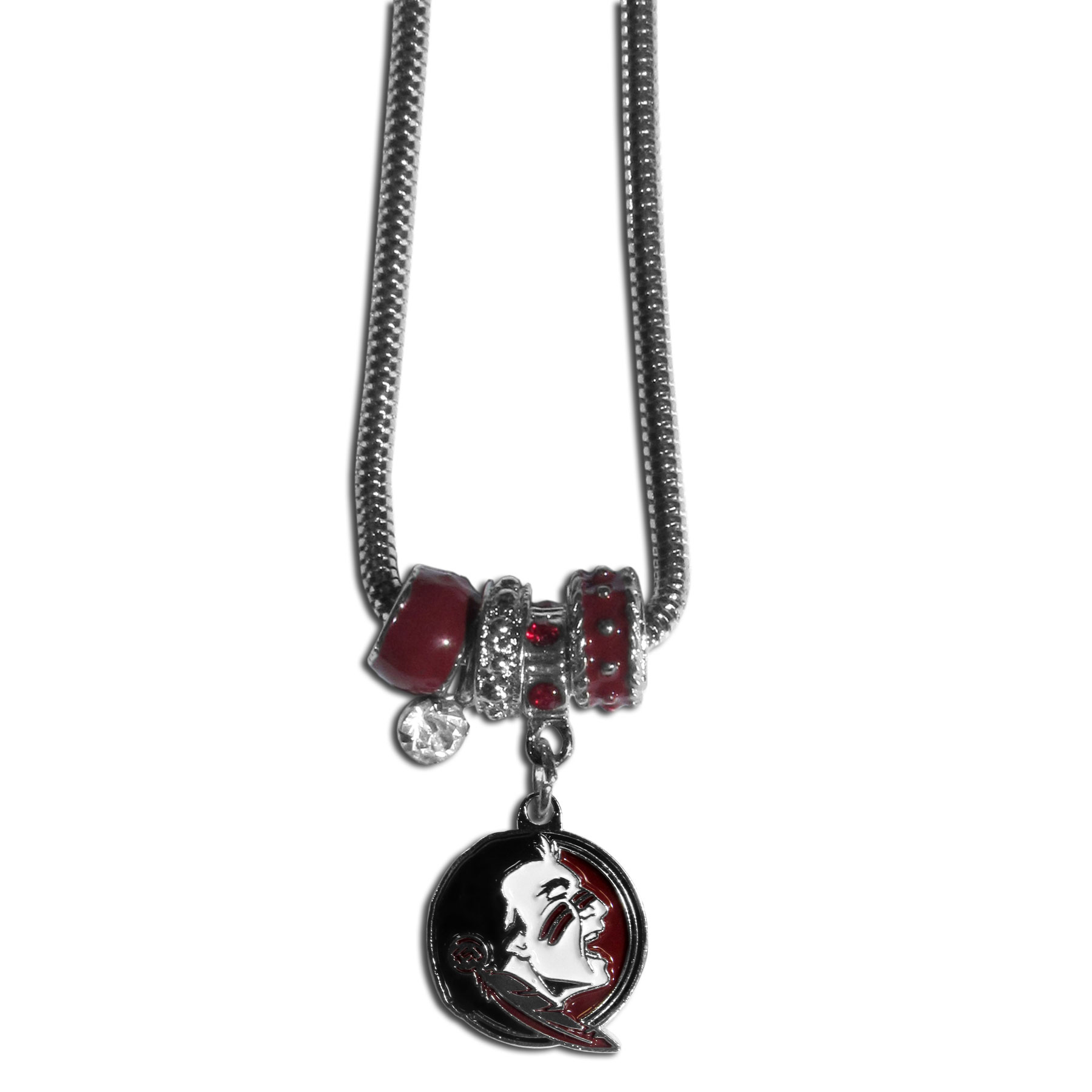 Florida St. Seminoles Euro Bead Necklace - We have combined the wildly popular Euro style beads with your favorite team to create our Florida St. Seminoles bead necklace. The 18 inch snake chain features 4 Euro beads with enameled team colors and rhinestone accents with a high polish, nickel free charm and rhinestone charm. Perfect way to show off your team pride.