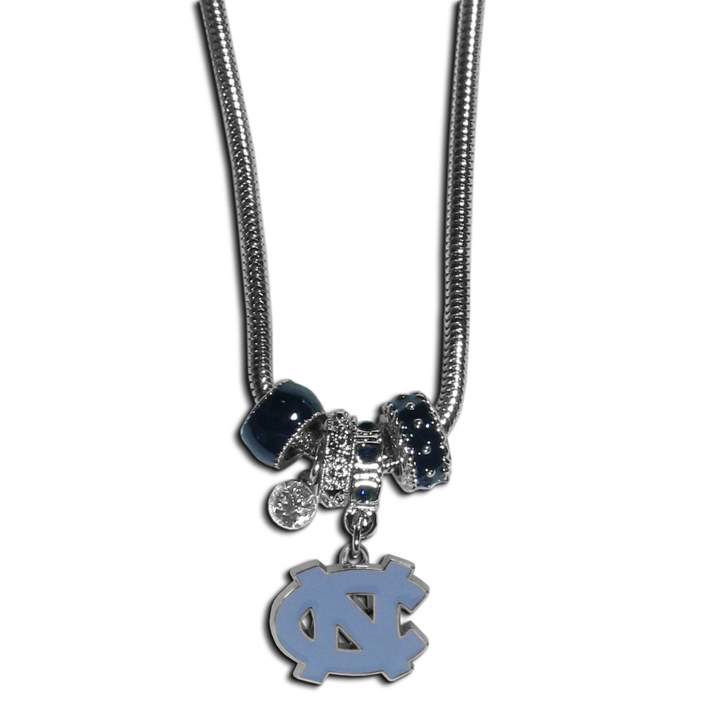 N. Carolina Tar Heels Euro Bead Necklace - We have combined the wildly popular Euro style beads with your favorite team to create our N. Carolina Tar Heels bead necklace. The 18 inch snake chain features 4 Euro beads with enameled team colors and rhinestone accents with a high polish, nickel free charm and rhinestone charm. Perfect way to show off your team pride.