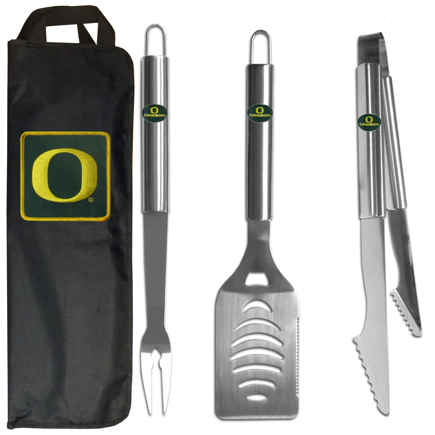 Oregon Ducks 3 pc Stainless Steel BBQ Set with Bag - Our Oregon Ducks stainless steel 3 pc BBQ tool set includes a large spatula with built in bottle opener, heavy duty tongs, and large fork. All the tools feature a team logo on the handle. The set comes with a durable canvas bag that has a chrome accented team logo.
