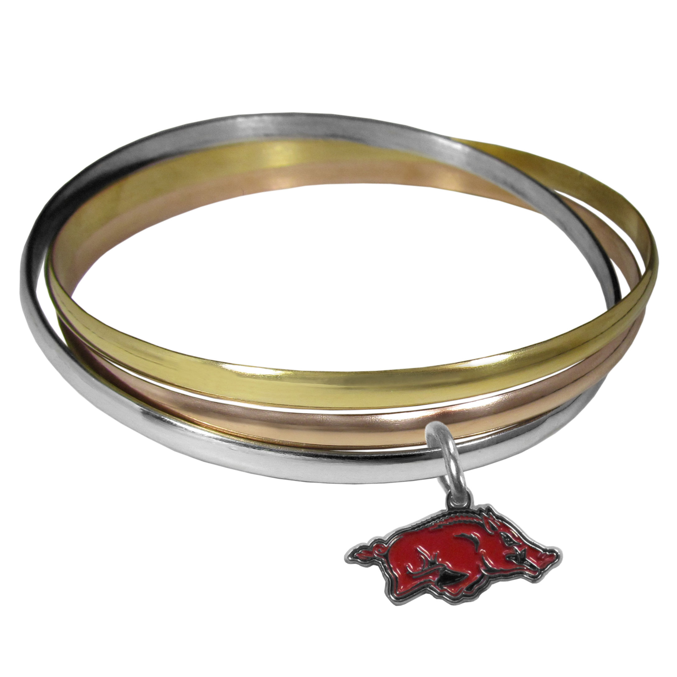 Arkansas Razorbacks Tri-color Bangle Bracelet - These beautiful bangles come in a interlocking style and feature a fully cast Arkansas Razorbacks charm with enameled team colors. The bracelet has a silver toned bangle, gold tone bangle and brass toned bangle.