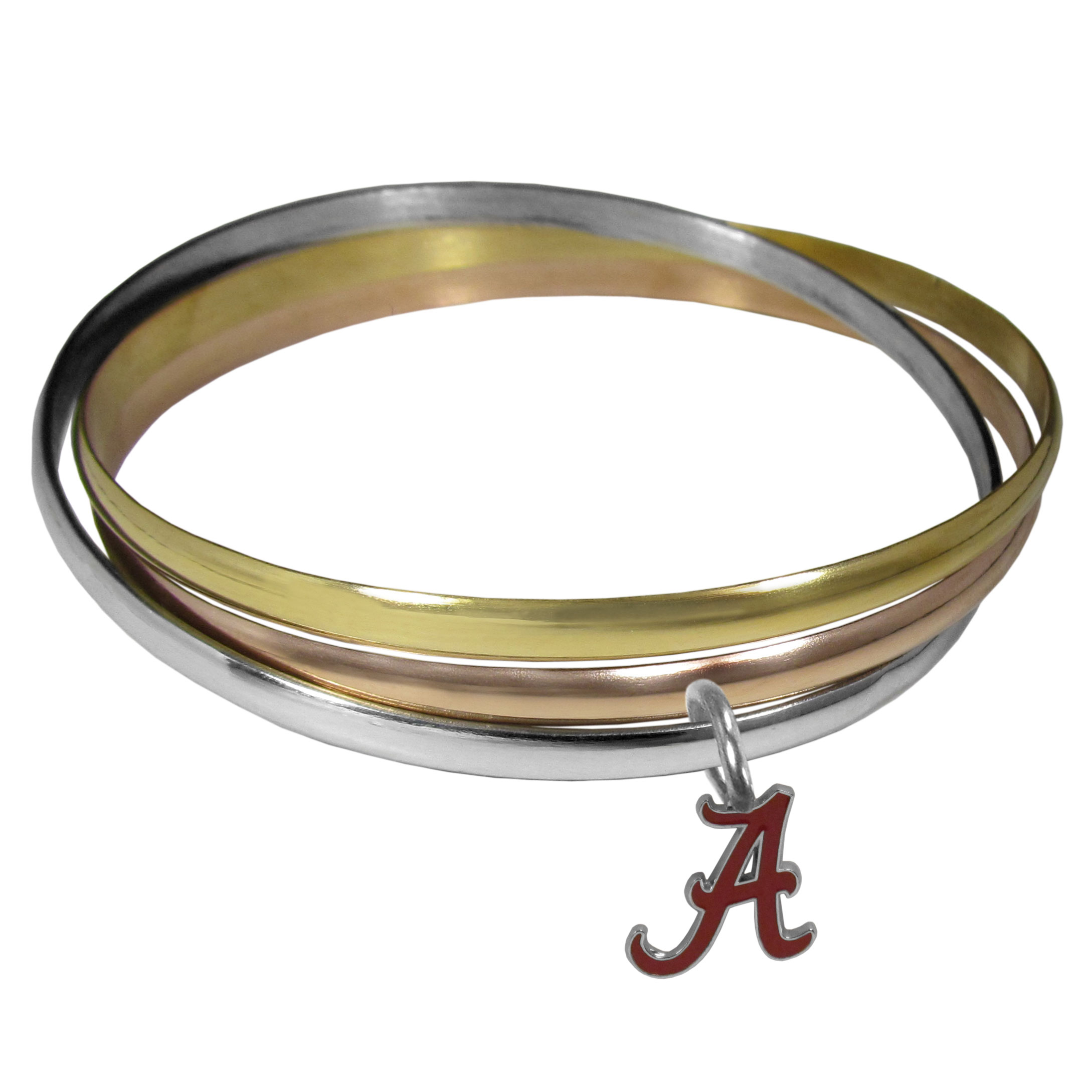 Alabama Crimson Tide Tri-color Bangle Bracelet - These beautiful bangles come in a interlocking style and feature a fully cast Alabama Crimson Tide charm with enameled team colors. The bracelet has a silver toned bangle, gold tone bangle and brass toned bangle.