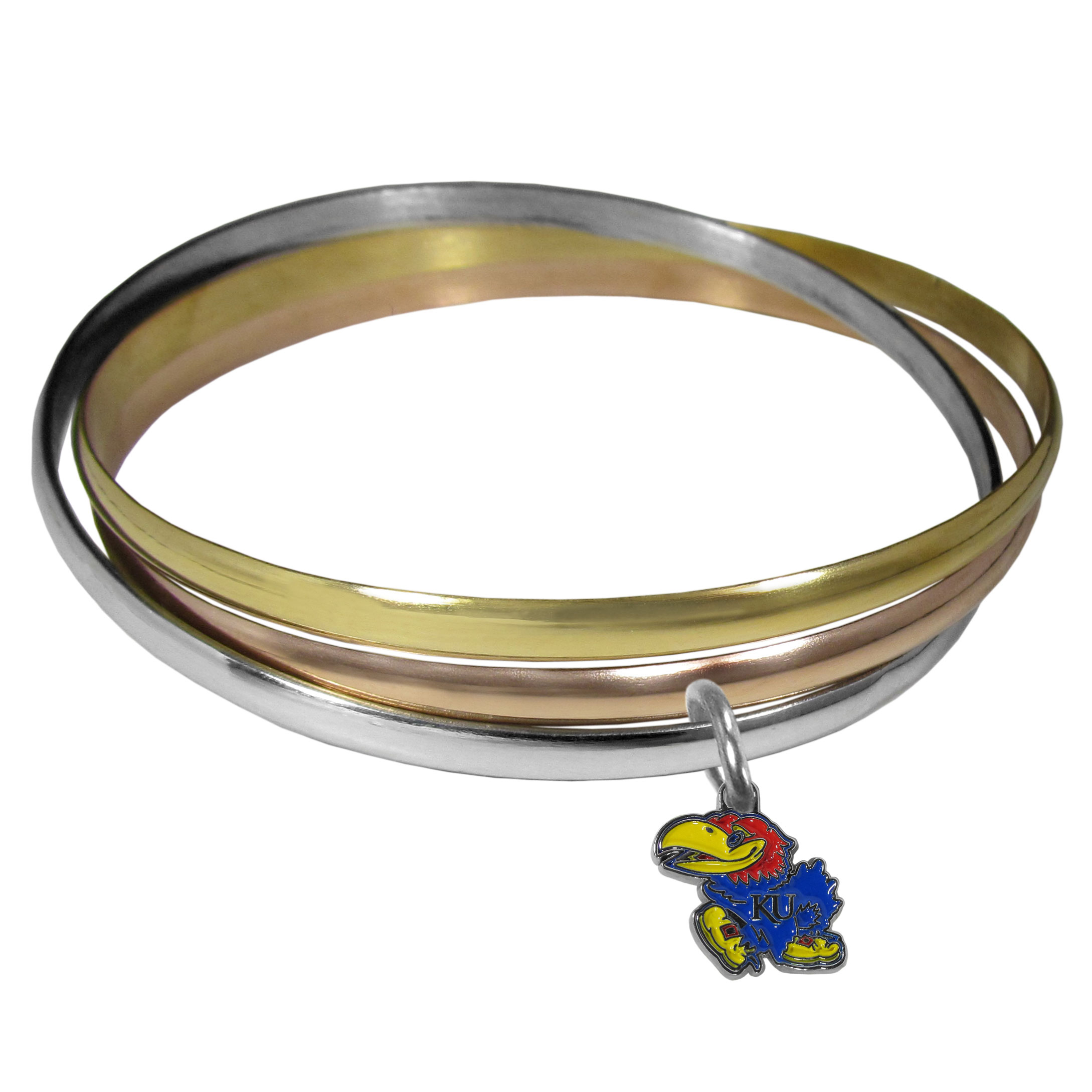 Kansas Jayhawks Tri-color Bangle Bracelet - These beautiful bangles come in a interlocking style and feature a fully cast Kansas Jayhawks charm with enameled team colors. The bracelet has a silver toned bangle, gold tone bangle and brass toned bangle.