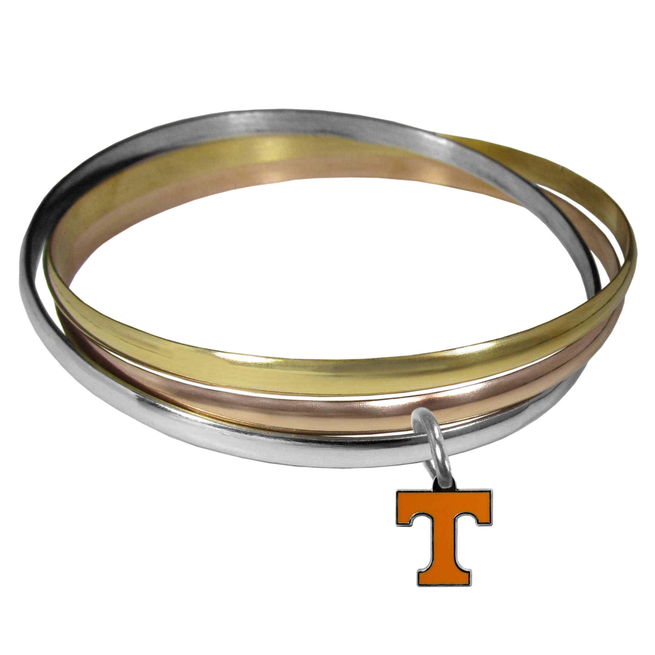 Tennessee Volunteers Tri-color Bangle Bracelet - These beautiful bangles come in a interlocking style and feature a fully cast Tennessee Volunteers charm with enameled team colors. The bracelet has a silver toned bangle, gold tone bangle and brass toned bangle.