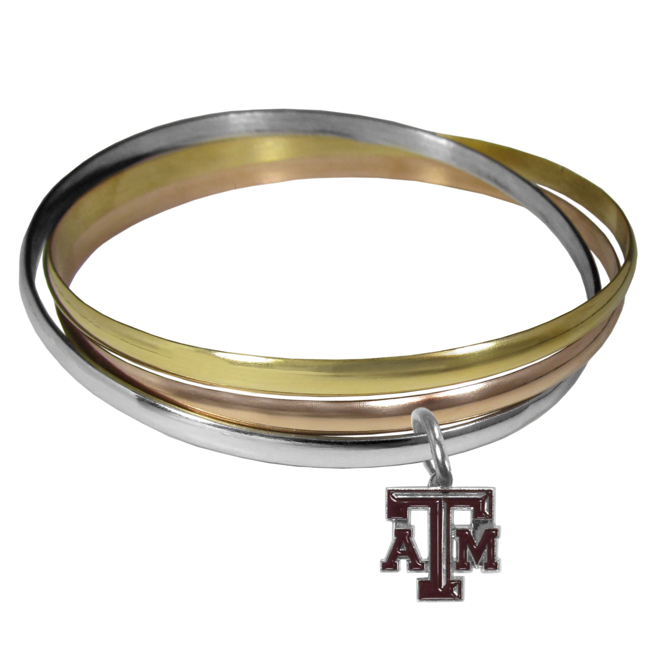 Texas A and M Aggies Tri-color Bangle Bracelet - These beautiful bangles come in a interlocking style and feature a fully cast Texas A & M Aggies charm with enameled team colors. The bracelet has a silver toned bangle, gold tone bangle and brass toned bangle.