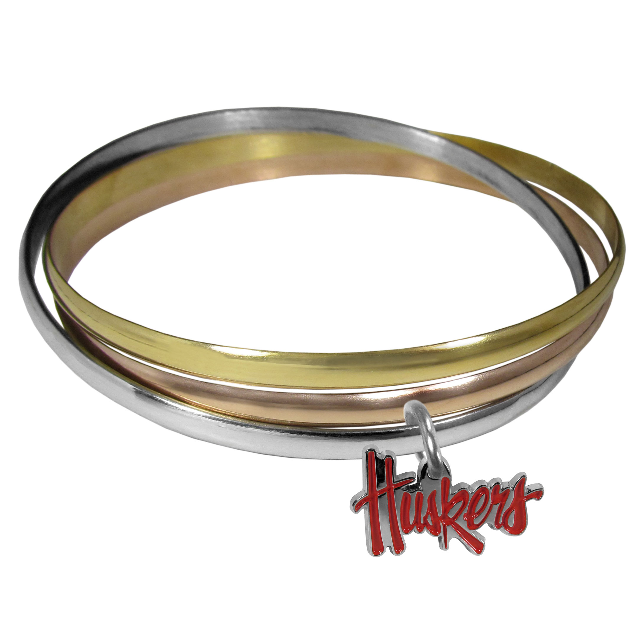 Nebraska Cornhuskers Tri-color Bangle Bracelet - These beautiful bangles come in a interlocking style and feature a fully cast Nebraska Cornhuskers charm with enameled team colors. The bracelet has a silver toned bangle, gold tone bangle and brass toned bangle.