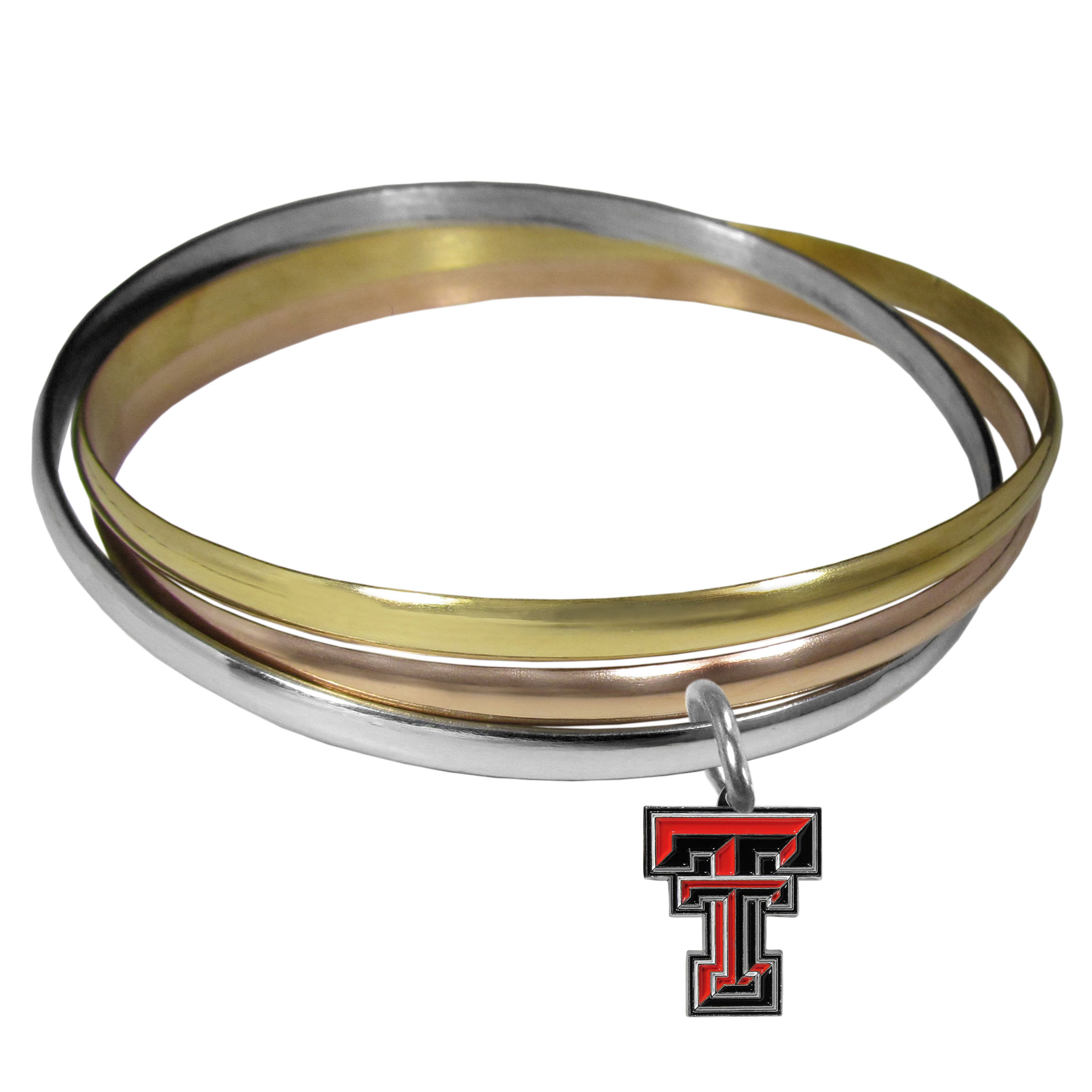 Texas Tech Raiders Tri-color Bangle Bracelet - These beautiful bangles come in a interlocking style and feature a fully cast Texas Tech Raiders charm with enameled team colors. The bracelet has a silver toned bangle, gold tone bangle and brass toned bangle.