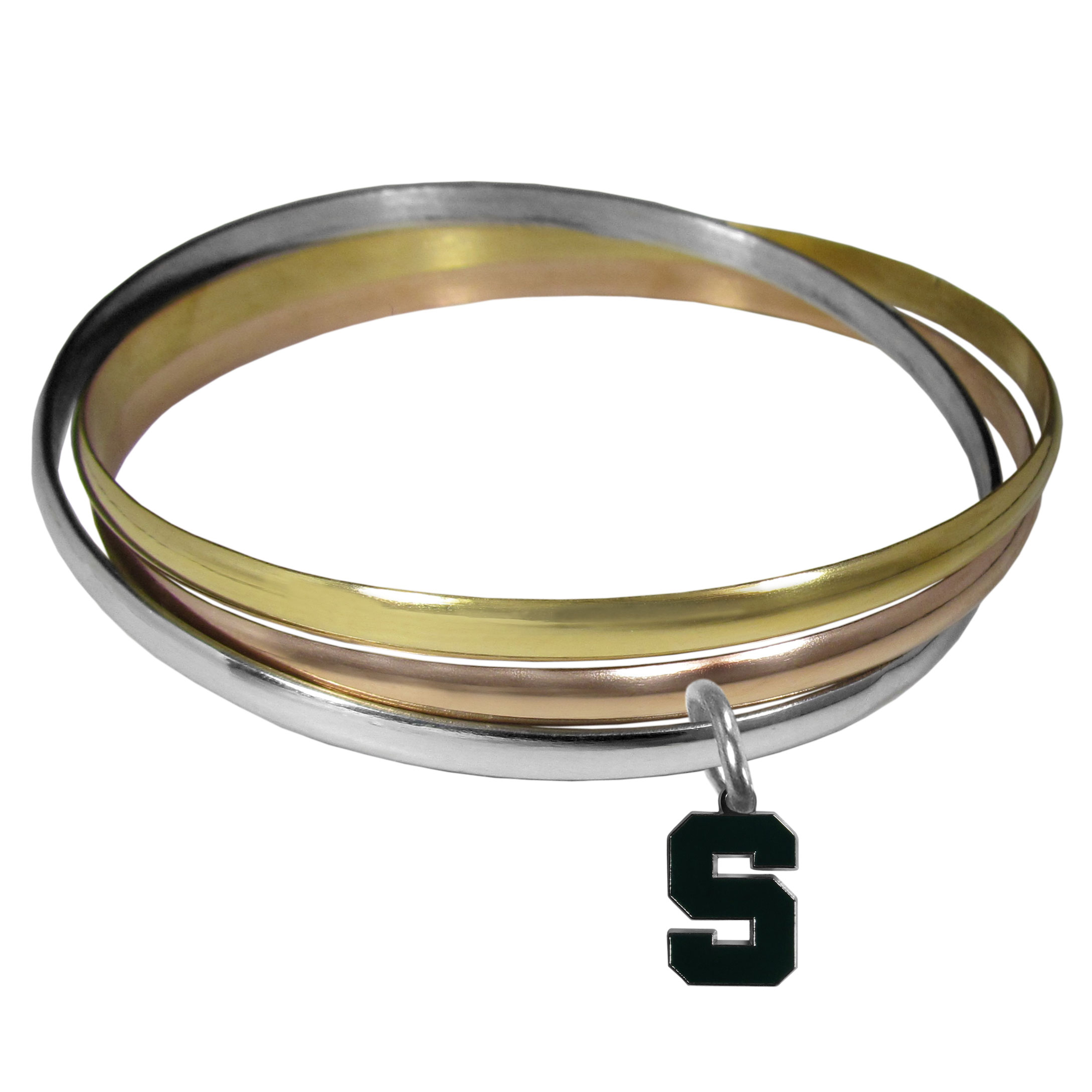 Michigan St. Spartans Tri-color Bangle Bracelet - These beautiful bangles come in a interlocking style and feature a fully cast Michigan St. Spartans charm with enameled team colors. The bracelet has a silver toned bangle, gold tone bangle and brass toned bangle.