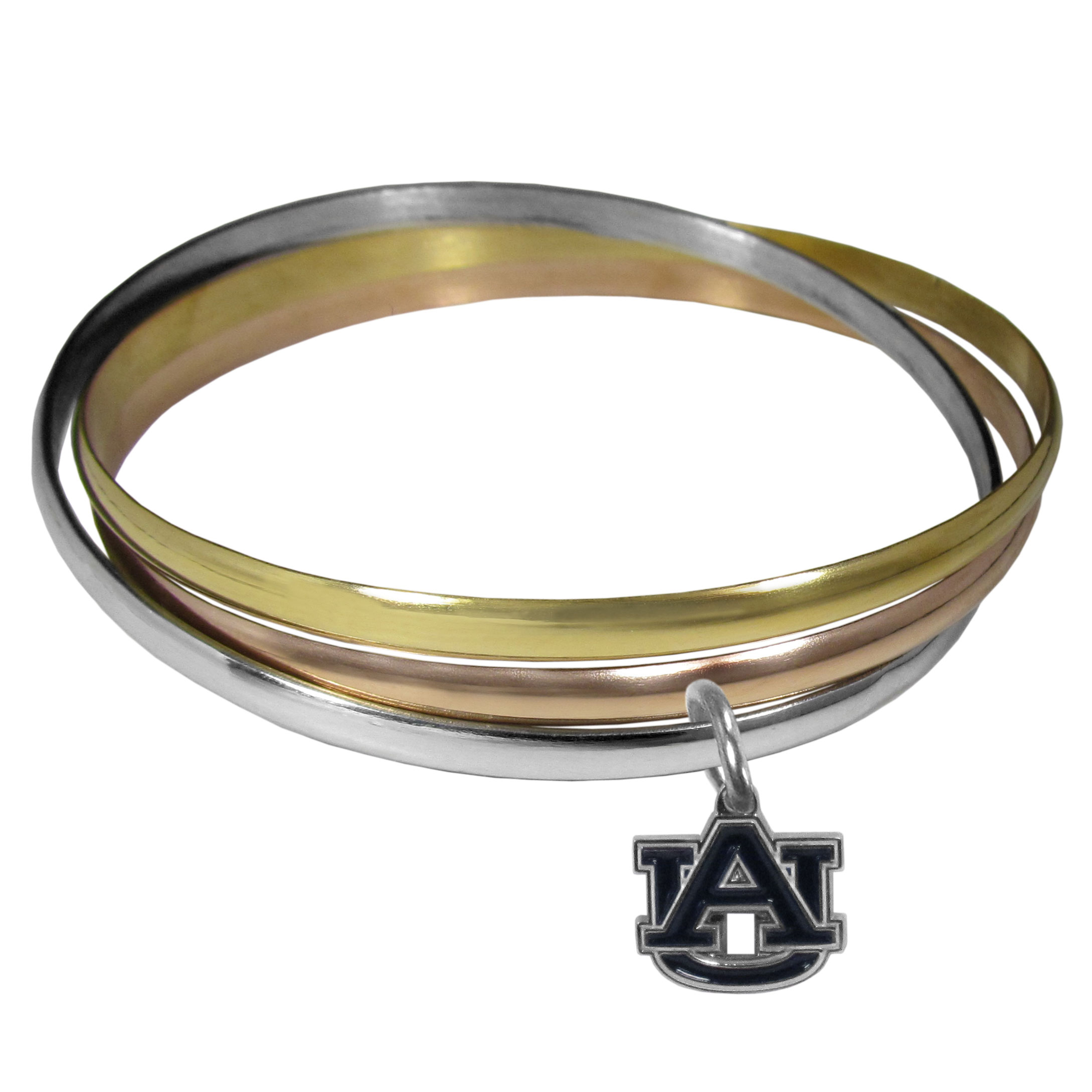 Auburn Tigers Tri-color Bangle Bracelet - These beautiful bangles come in a interlocking style and feature a fully cast Auburn Tigers charm with enameled team colors. The bracelet has a silver toned bangle, gold tone bangle and brass toned bangle.