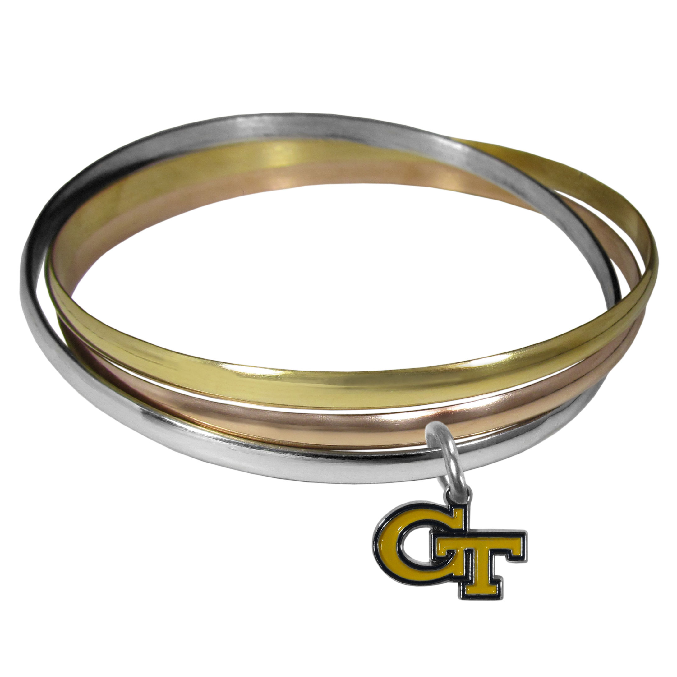 Georgia Tech Yellow Jackets Tri-color Bangle Bracelet - These beautiful bangles come in a interlocking style and feature a fully cast Georgia Tech Yellow Jackets charm with enameled team colors. The bracelet has a silver toned bangle, gold tone bangle and brass toned bangle.