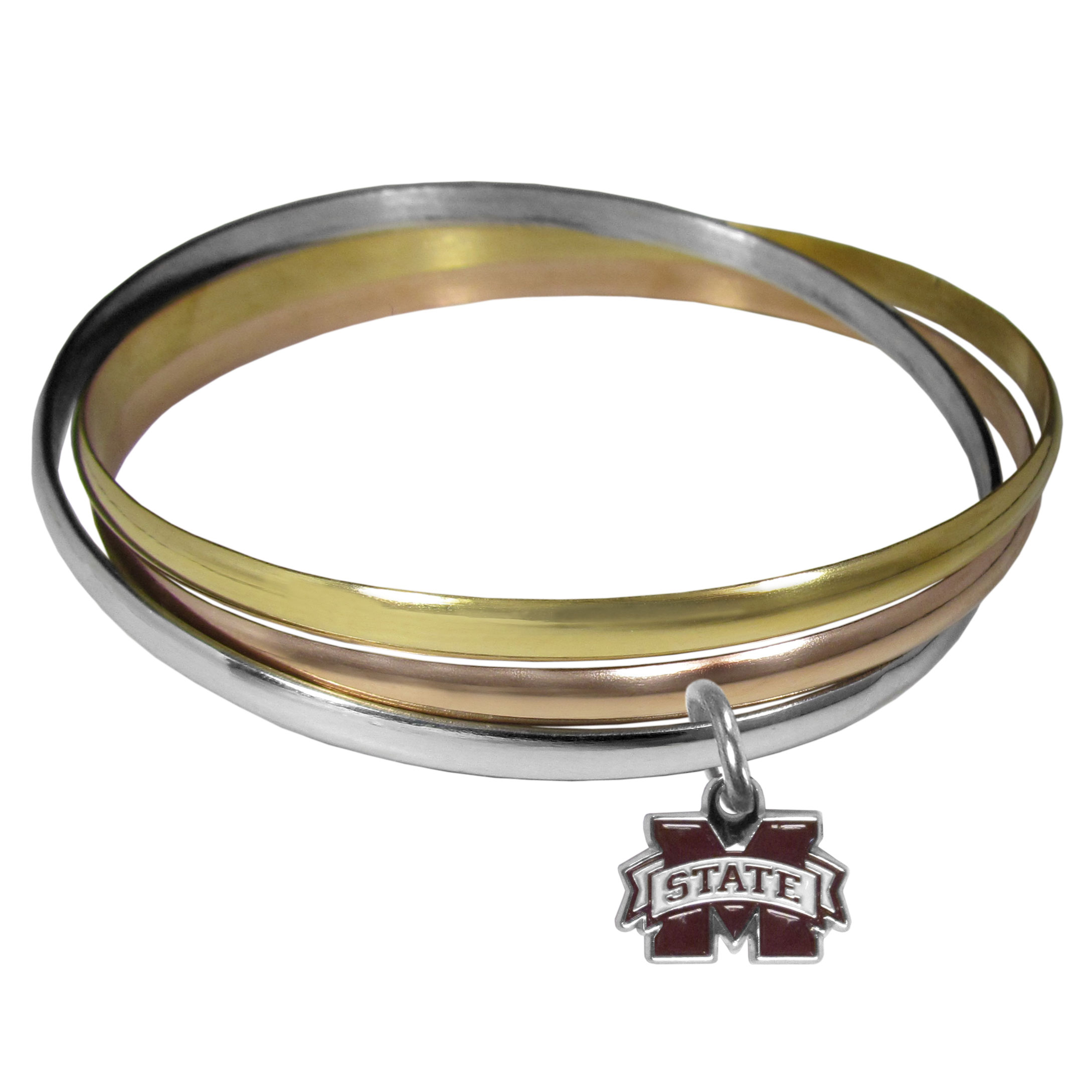 Mississippi St. Bulldogs Tri-color Bangle Bracelet - These beautiful bangles come in a interlocking style and feature a fully cast Mississippi St. Bulldogs charm with enameled team colors. The bracelet has a silver toned bangle, gold tone bangle and brass toned bangle.