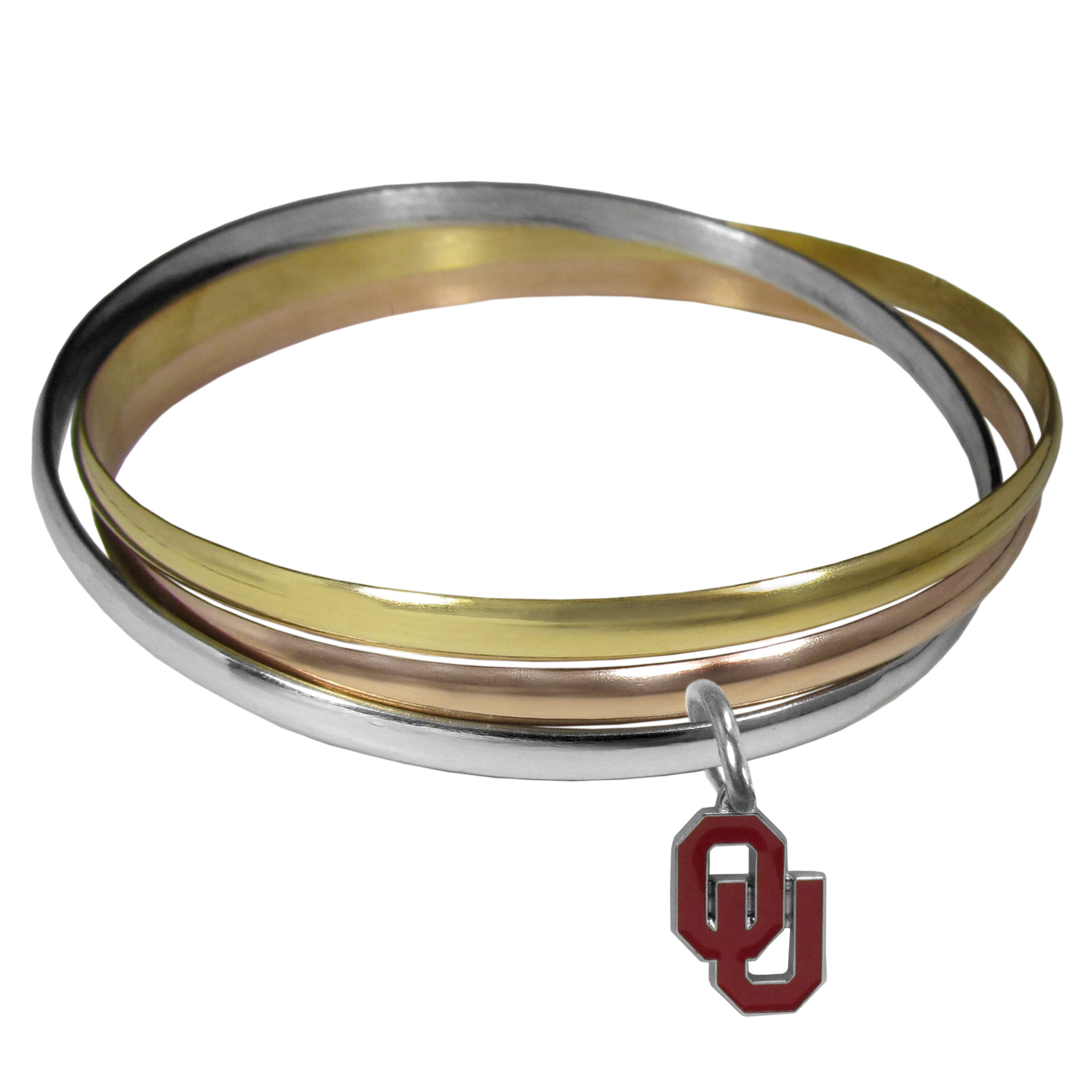 Oklahoma Sooners Tri-color Bangle Bracelet - These beautiful bangles come in a interlocking style and feature a fully cast Oklahoma Sooners charm with enameled team colors. The bracelet has a silver toned bangle, gold tone bangle and brass toned bangle.