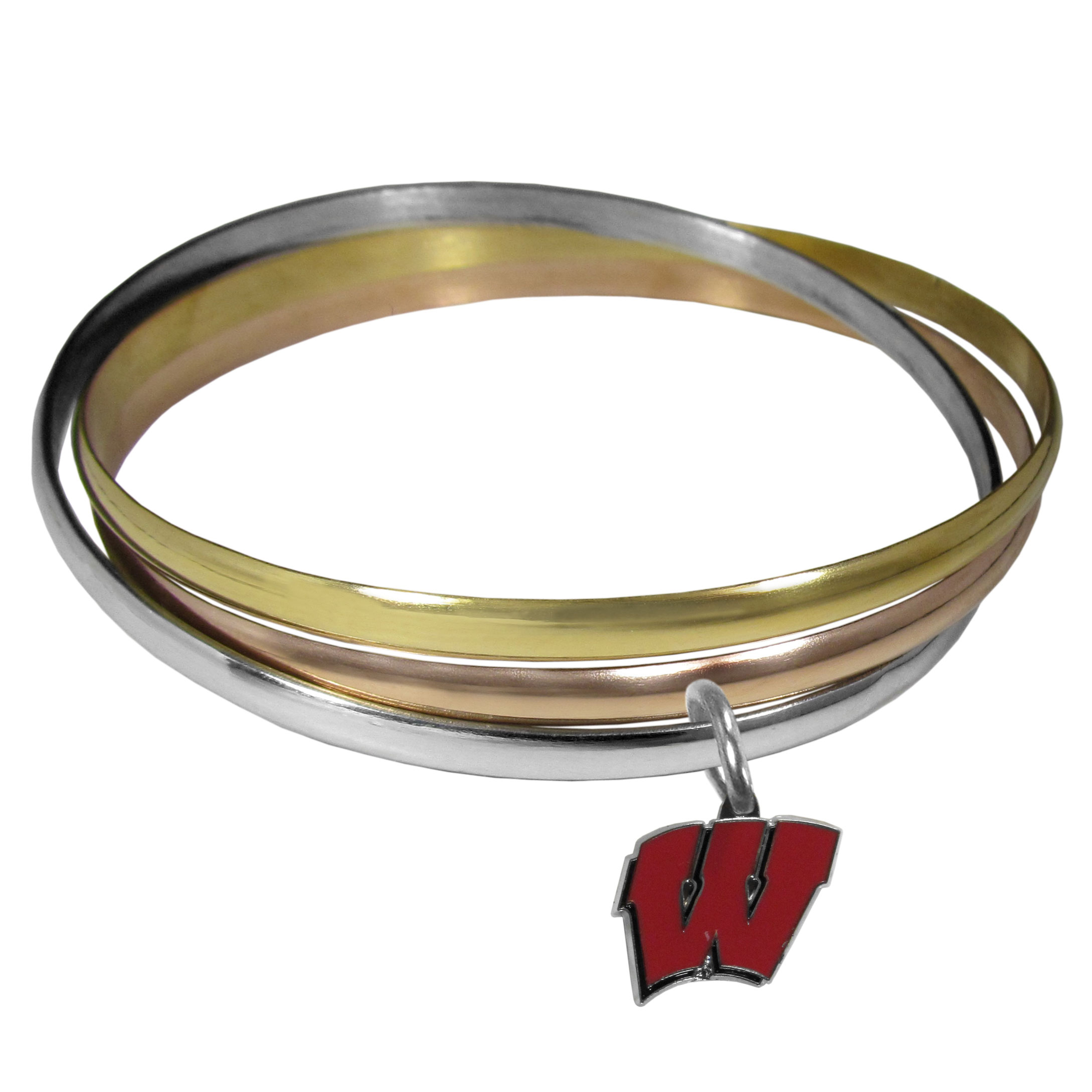 Wisconsin Badgers Tri-color Bangle Bracelet - These beautiful bangles come in a interlocking style and feature a fully cast Wisconsin Badgers charm with enameled team colors. The bracelet has a silver toned bangle, gold tone bangle and brass toned bangle.