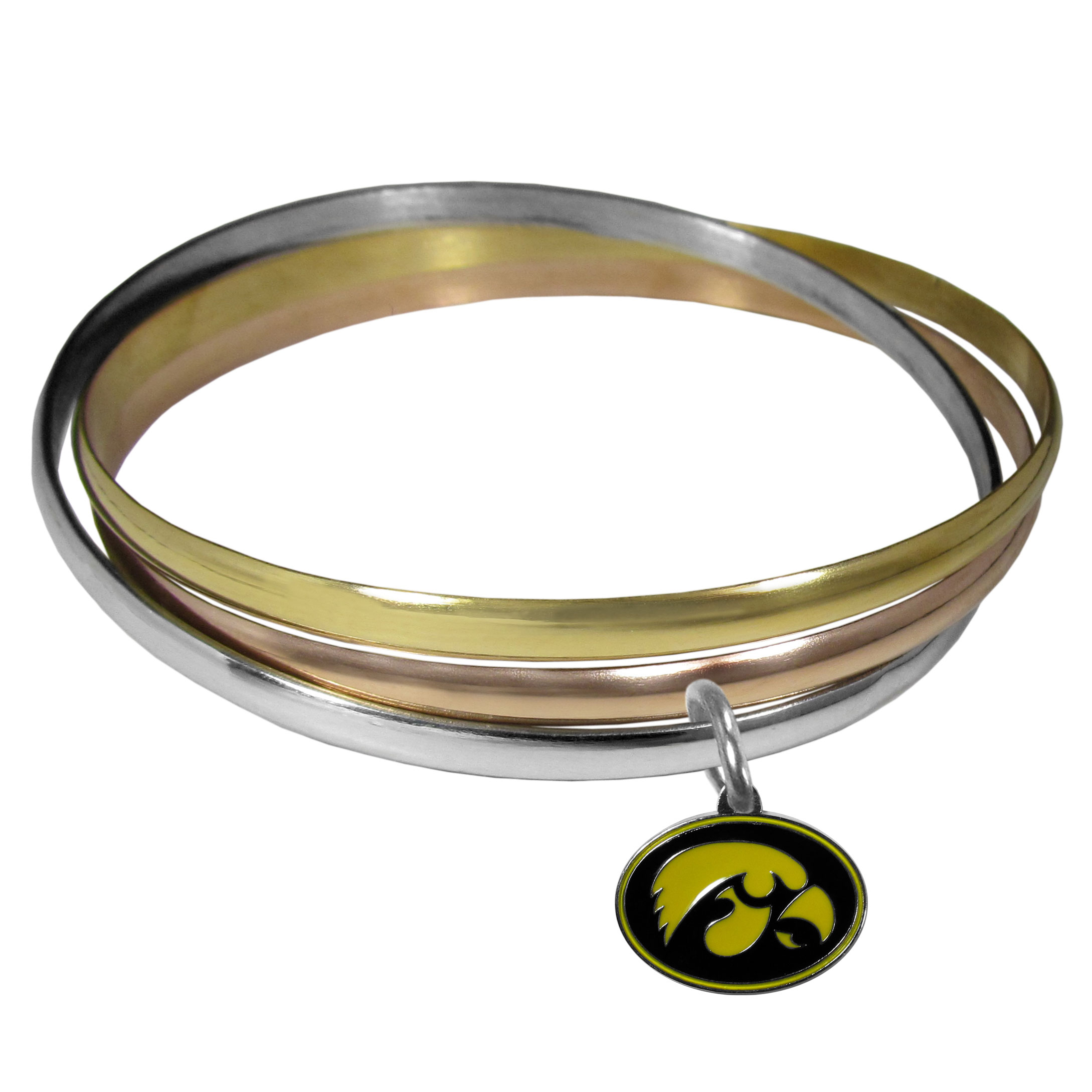 Iowa Hawkeyes Tri-color Bangle Bracelet - These beautiful bangles come in a interlocking style and feature a fully cast Iowa Hawkeyes charm with enameled team colors. The bracelet has a silver toned bangle, gold tone bangle and brass toned bangle.
