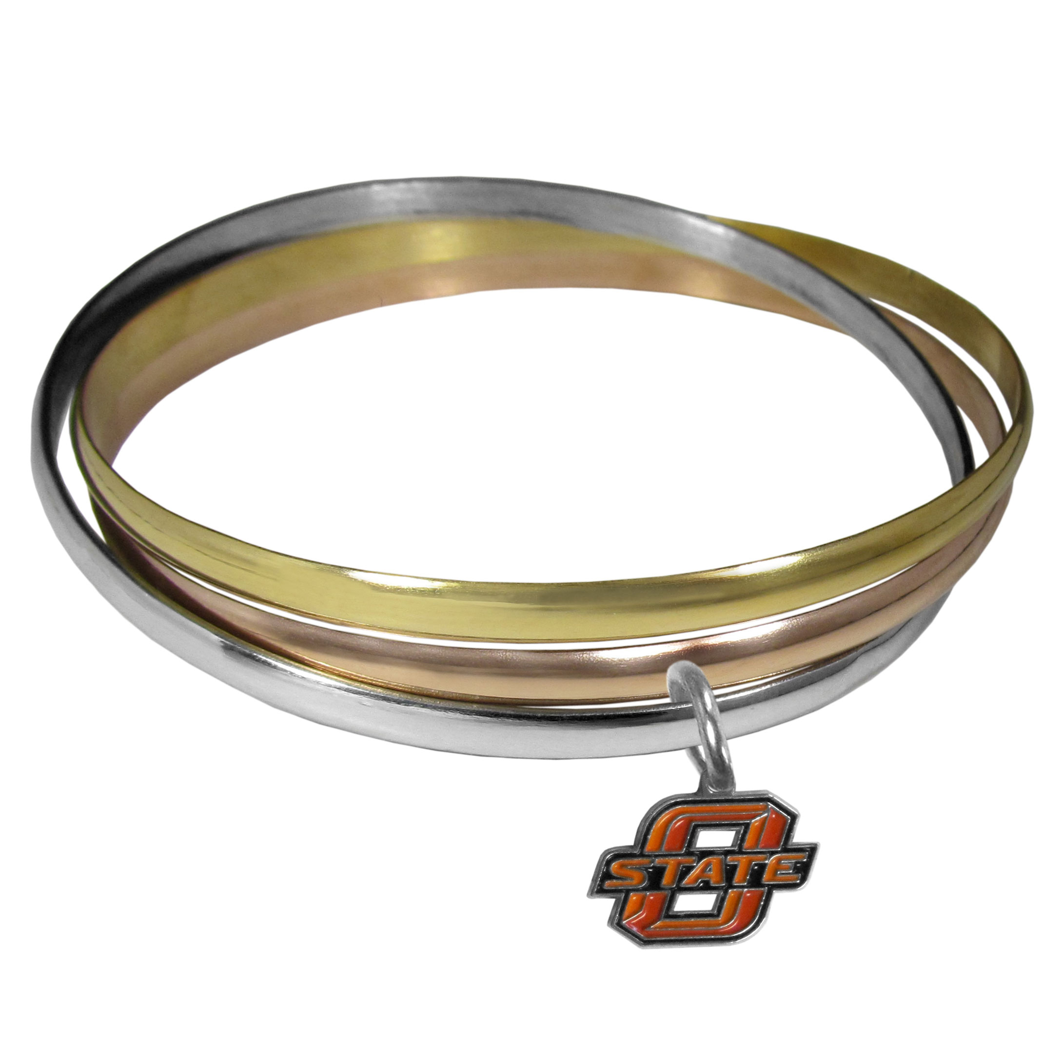 Oklahoma St. Cowboys Tri-color Bangle Bracelet - These beautiful bangles come in a interlocking style and feature a fully cast Oklahoma St. Cowboys charm with enameled team colors. The bracelet has a silver toned bangle, gold tone bangle and brass toned bangle.