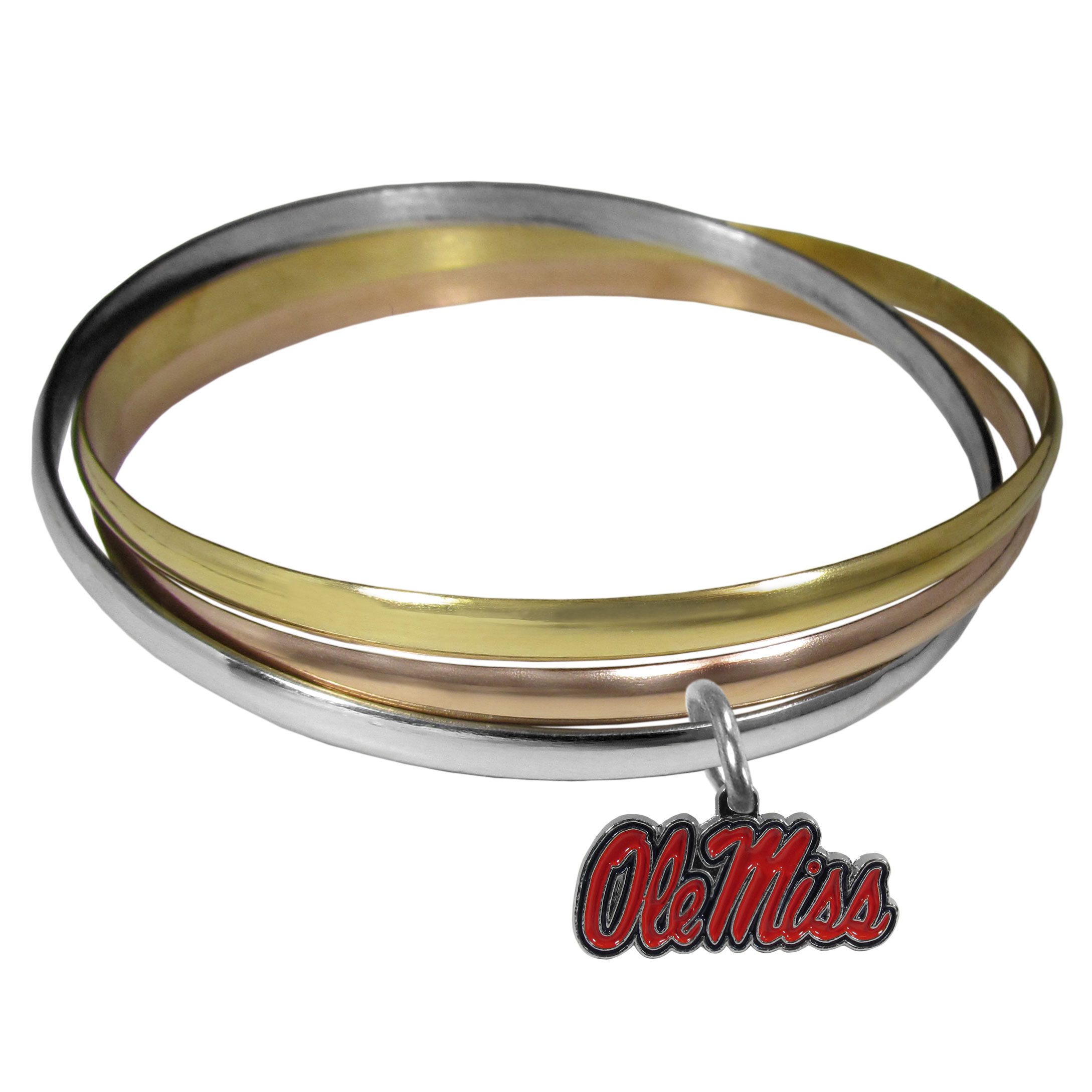 Mississippi Rebels Tri-color Bangle Bracelet - These beautiful bangles come in a interlocking style and feature a fully cast Mississippi Rebels charm with enameled team colors. The bracelet has a silver toned bangle, gold tone bangle and brass toned bangle.