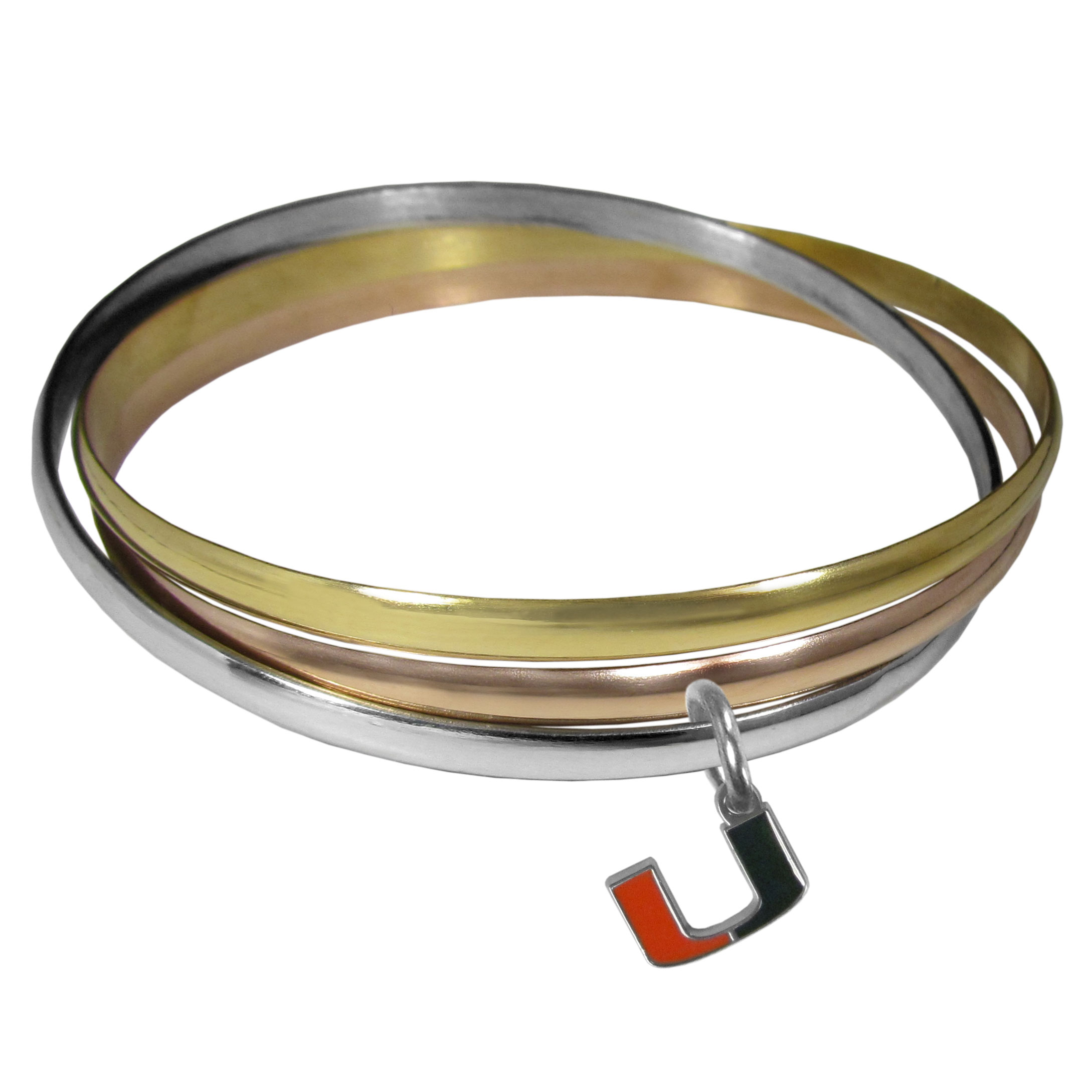 Miami Hurricanes Tri-color Bangle Bracelet - These beautiful bangles come in a interlocking style and feature a fully cast Miami Hurricanes charm with enameled team colors. The bracelet has a silver toned bangle, gold tone bangle and brass toned bangle.