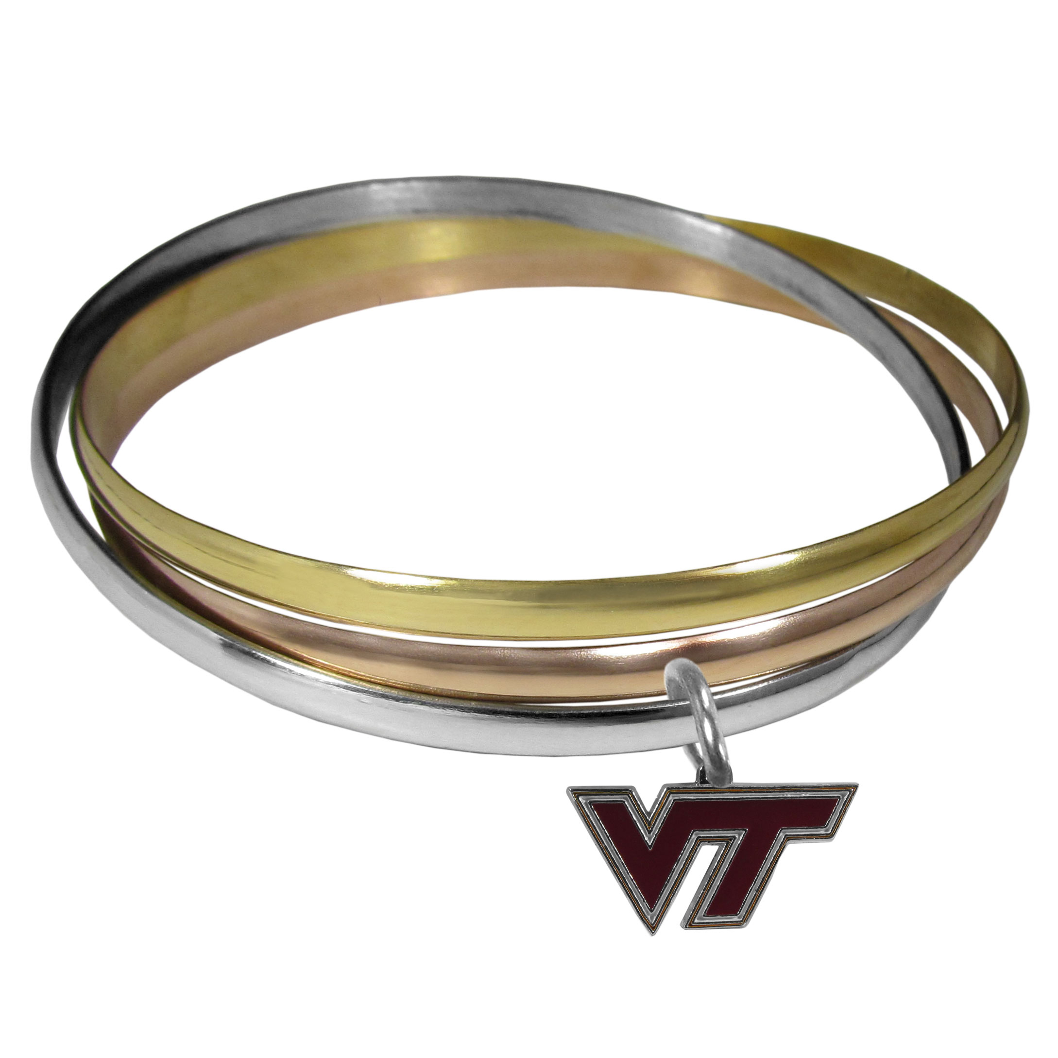 Virginia Tech Hokies Tri-color Bangle Bracelet - These beautiful bangles come in a interlocking style and feature a fully cast Virginia Tech Hokies charm with enameled team colors. The bracelet has a silver toned bangle, gold tone bangle and brass toned bangle.