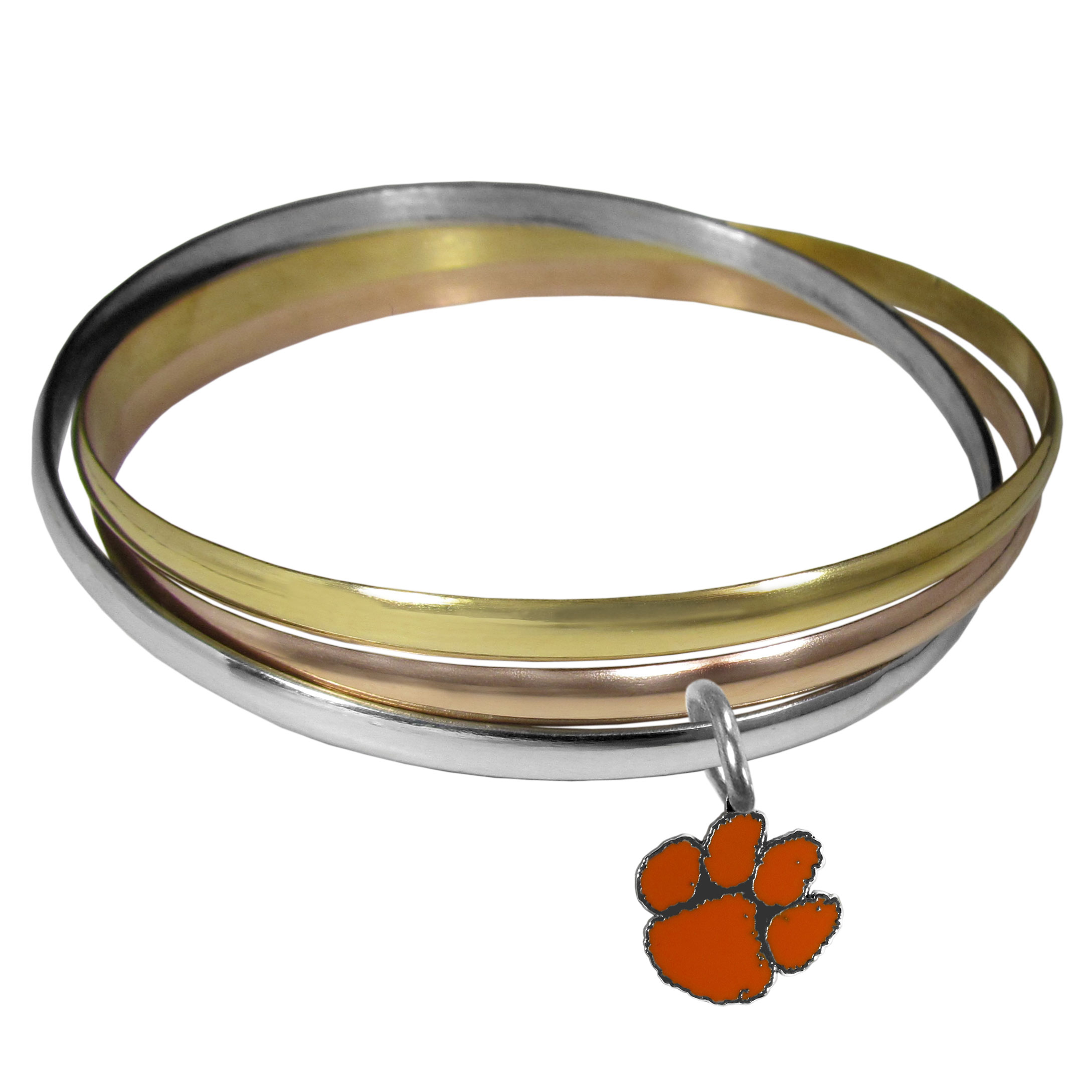 Clemson Tigers Tri-color Bangle Bracelet - These beautiful bangles come in a interlocking style and feature a fully cast Clemson Tigers charm with enameled team colors. The bracelet has a silver toned bangle, gold tone bangle and brass toned bangle.