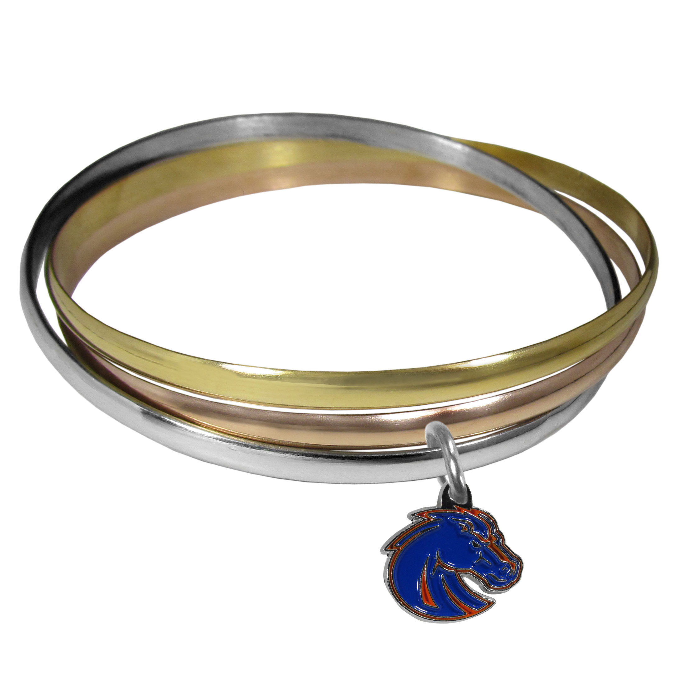 Boise St. Broncos Tri-color Bangle Bracelet - These beautiful bangles come in a interlocking style and feature a fully cast Boise St. Broncos charm with enameled team colors. The bracelet has a silver toned bangle, gold tone bangle and brass toned bangle.